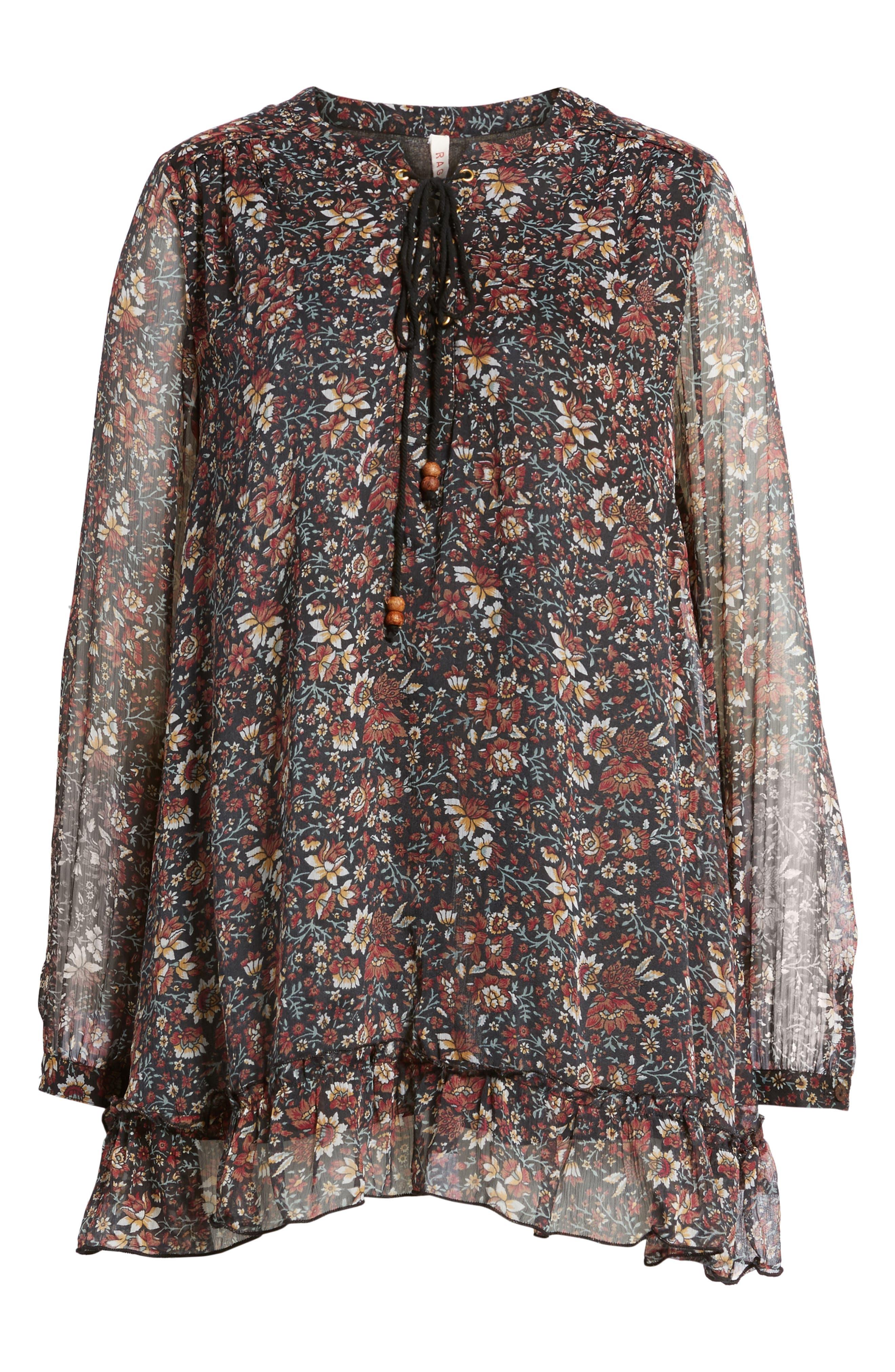 Eloise Floral Print Minidress,                             Alternate thumbnail 6, color,                             001