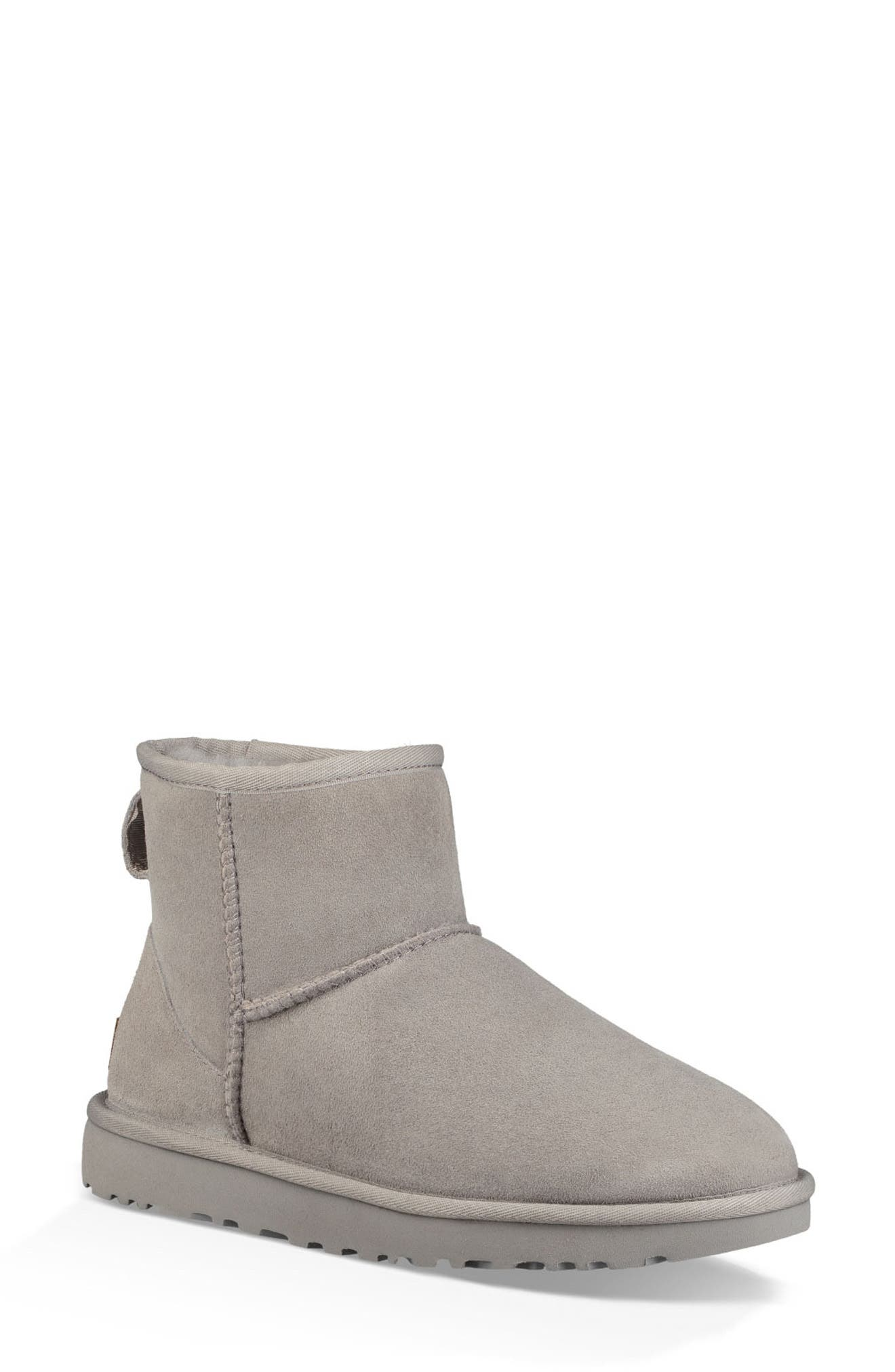 'Classic Mini II' Genuine Shearling Lined Boot,                         Main,                         color, SEAL SUEDE