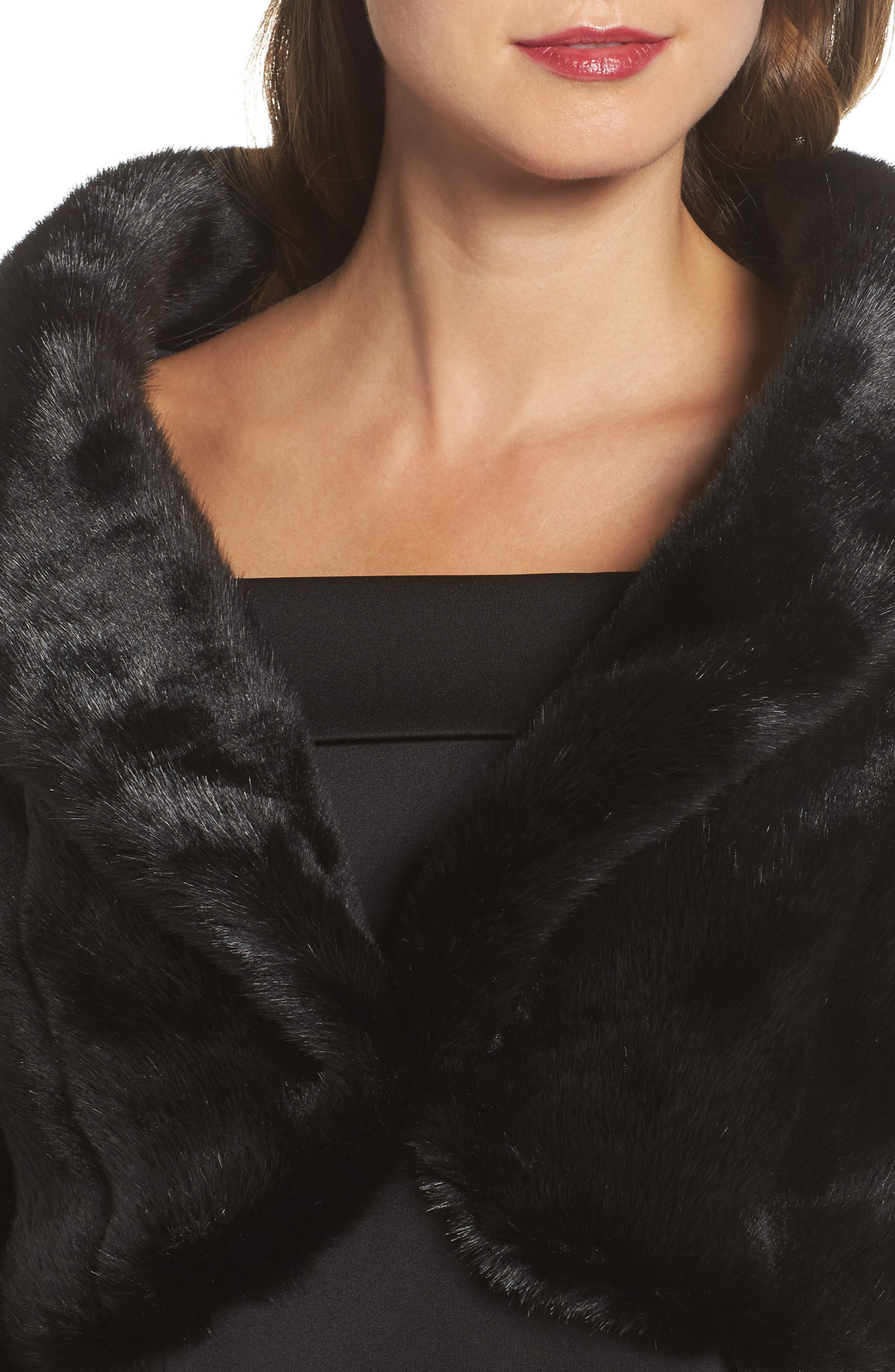 Faux Fur Jacket,                             Alternate thumbnail 4, color,                             001