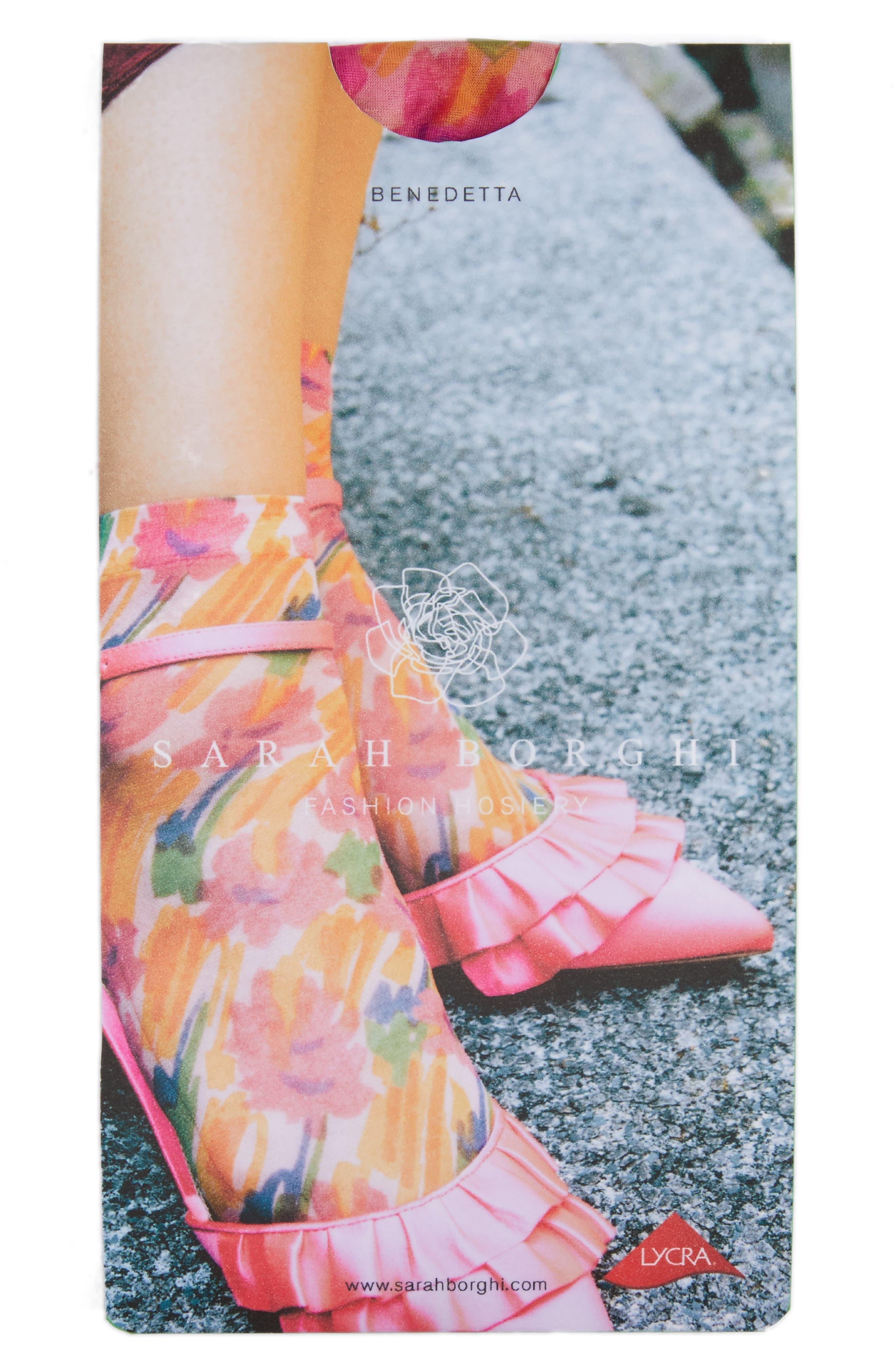 Benedetta Ankle Socks,                             Alternate thumbnail 2, color,                             FIORE ASTRATTO