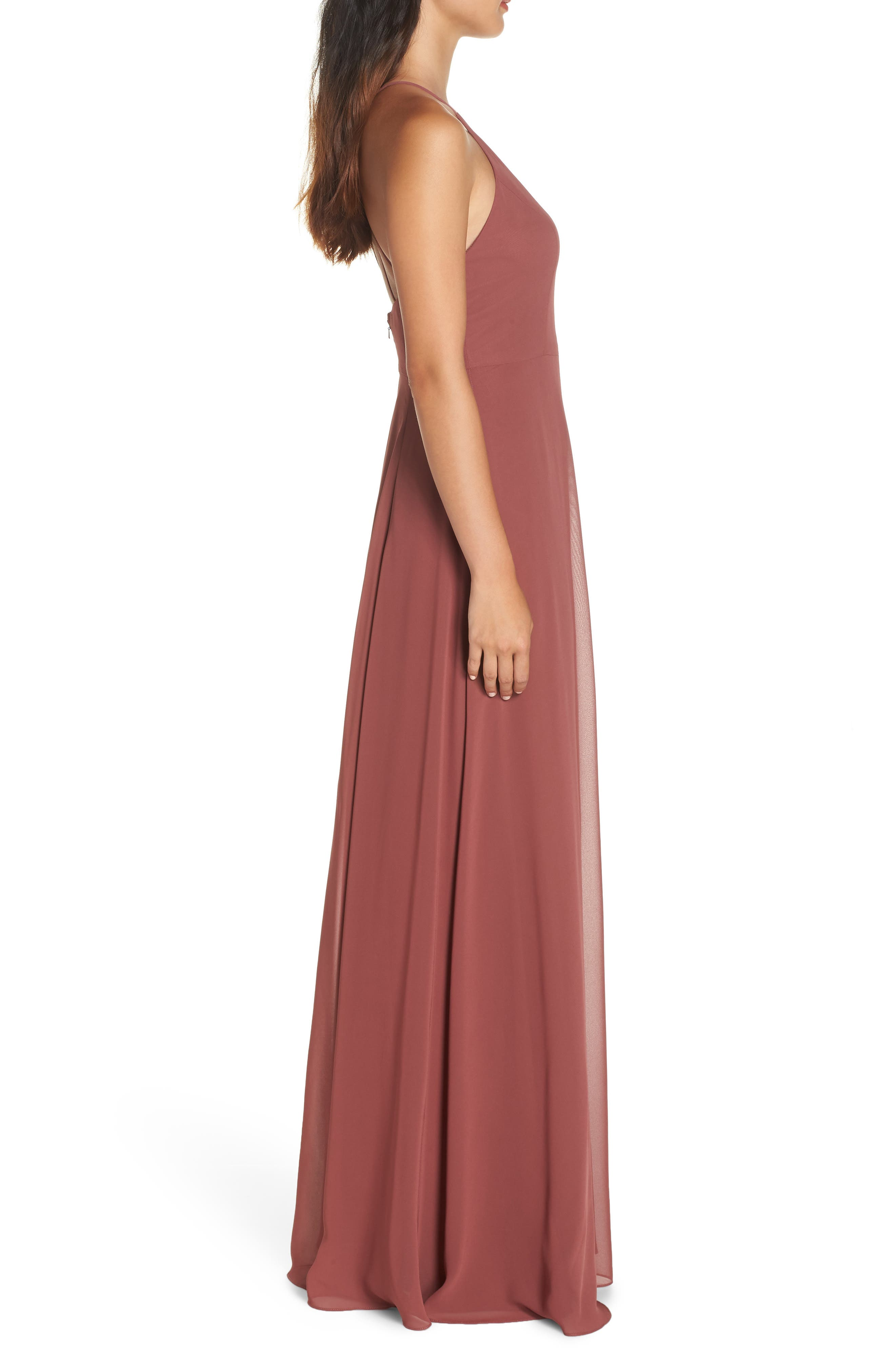 Kayla A-Line Halter Gown,                             Alternate thumbnail 3, color,                             CINNAMON ROSE