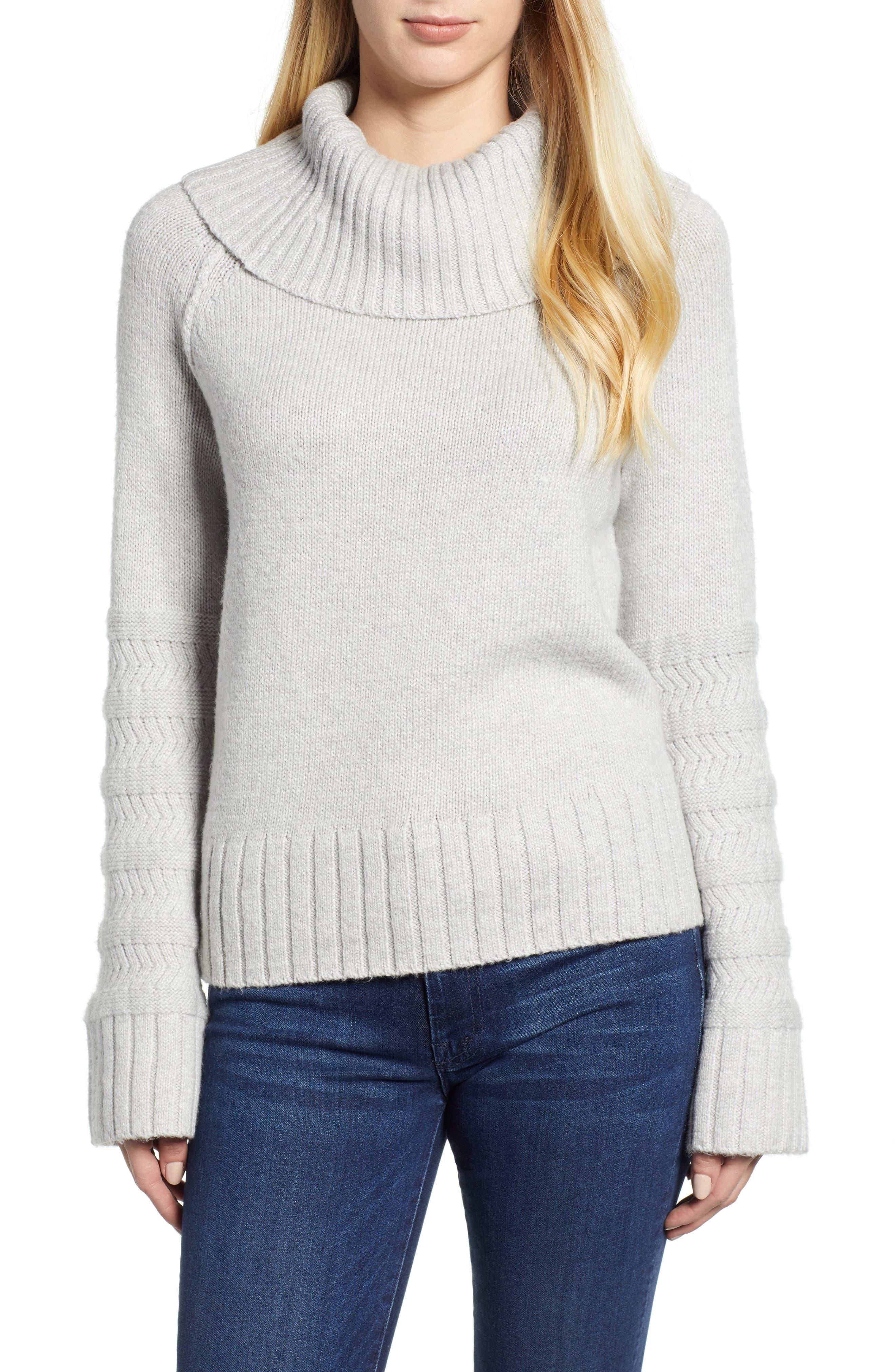 Turtleneck Sweater,                             Main thumbnail 1, color,                             GREY LIGHT HEATHER