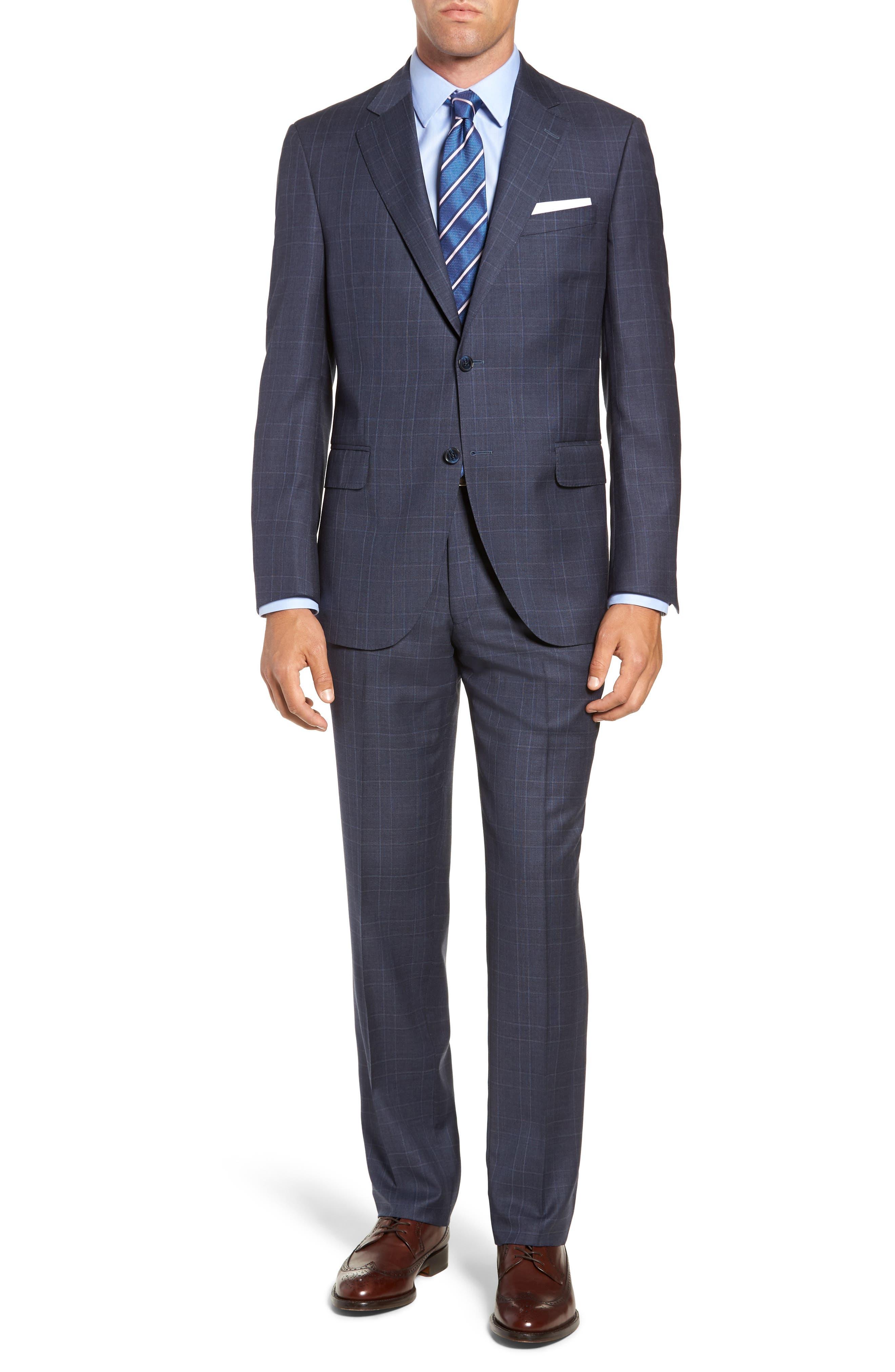 Flynn Classic Fit Plaid Wool Suit,                         Main,                         color, BLUE