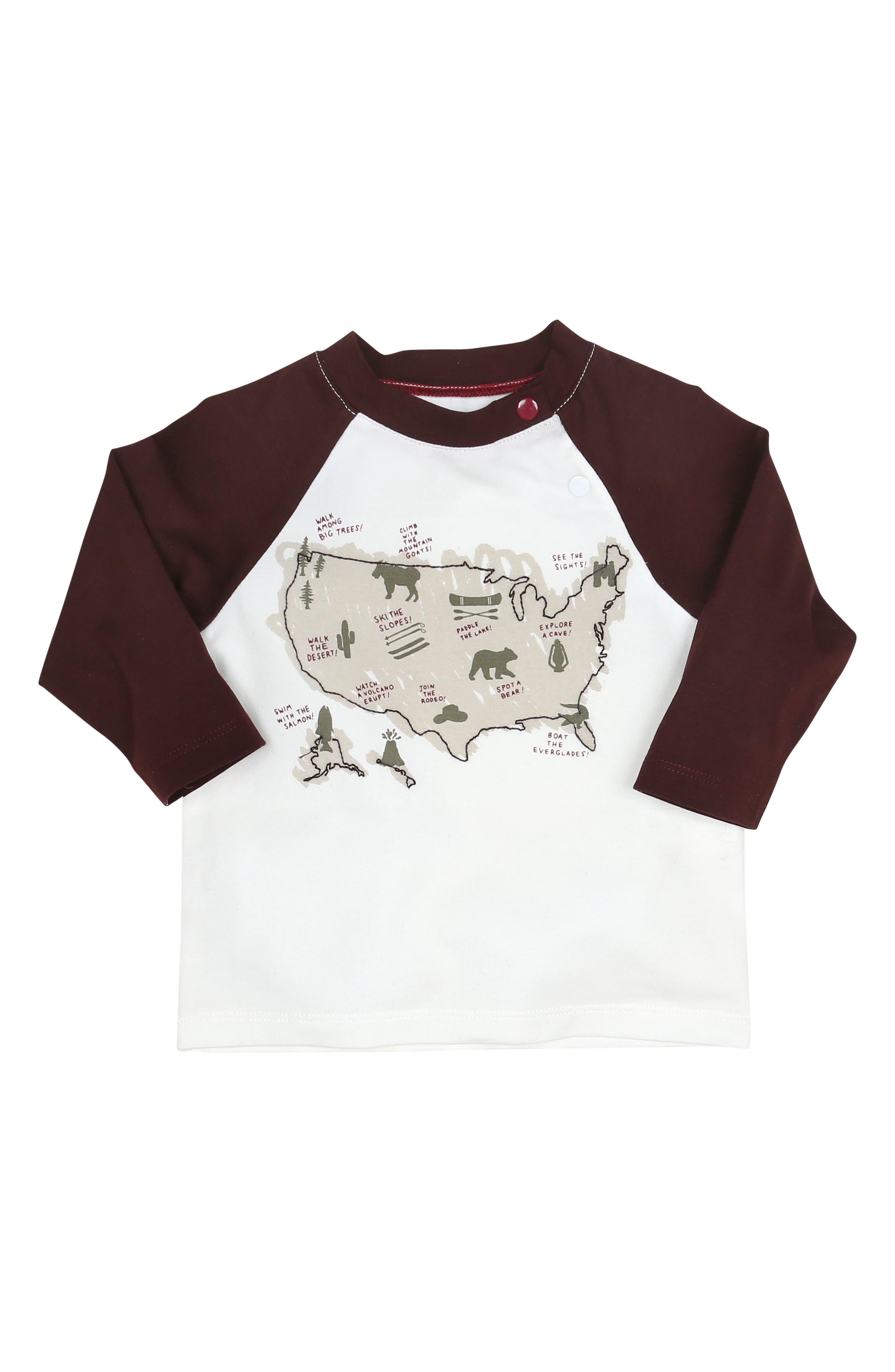 Explore Map Graphic T-Shirt,                         Main,                         color, WHITE