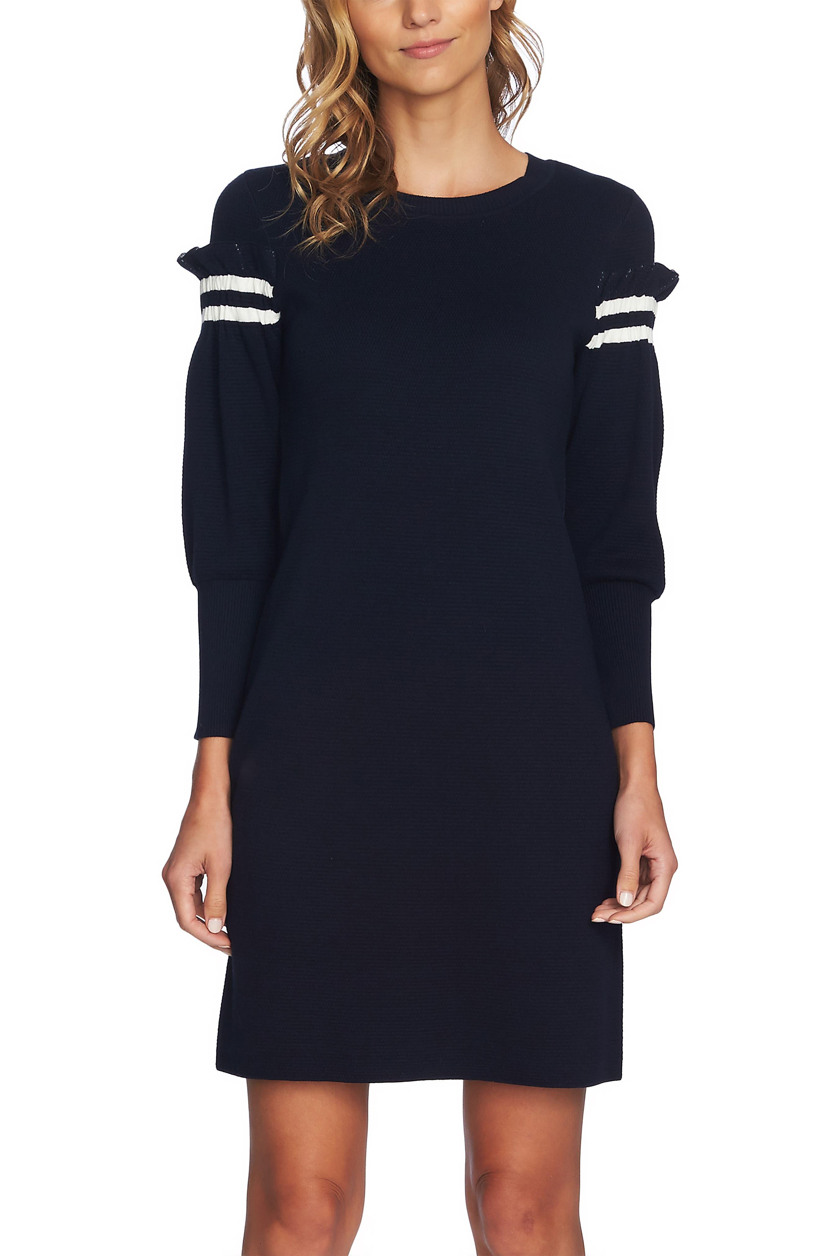 Puffed Sleeve Sweater Dress,                             Alternate thumbnail 3, color,                             CAVIAR