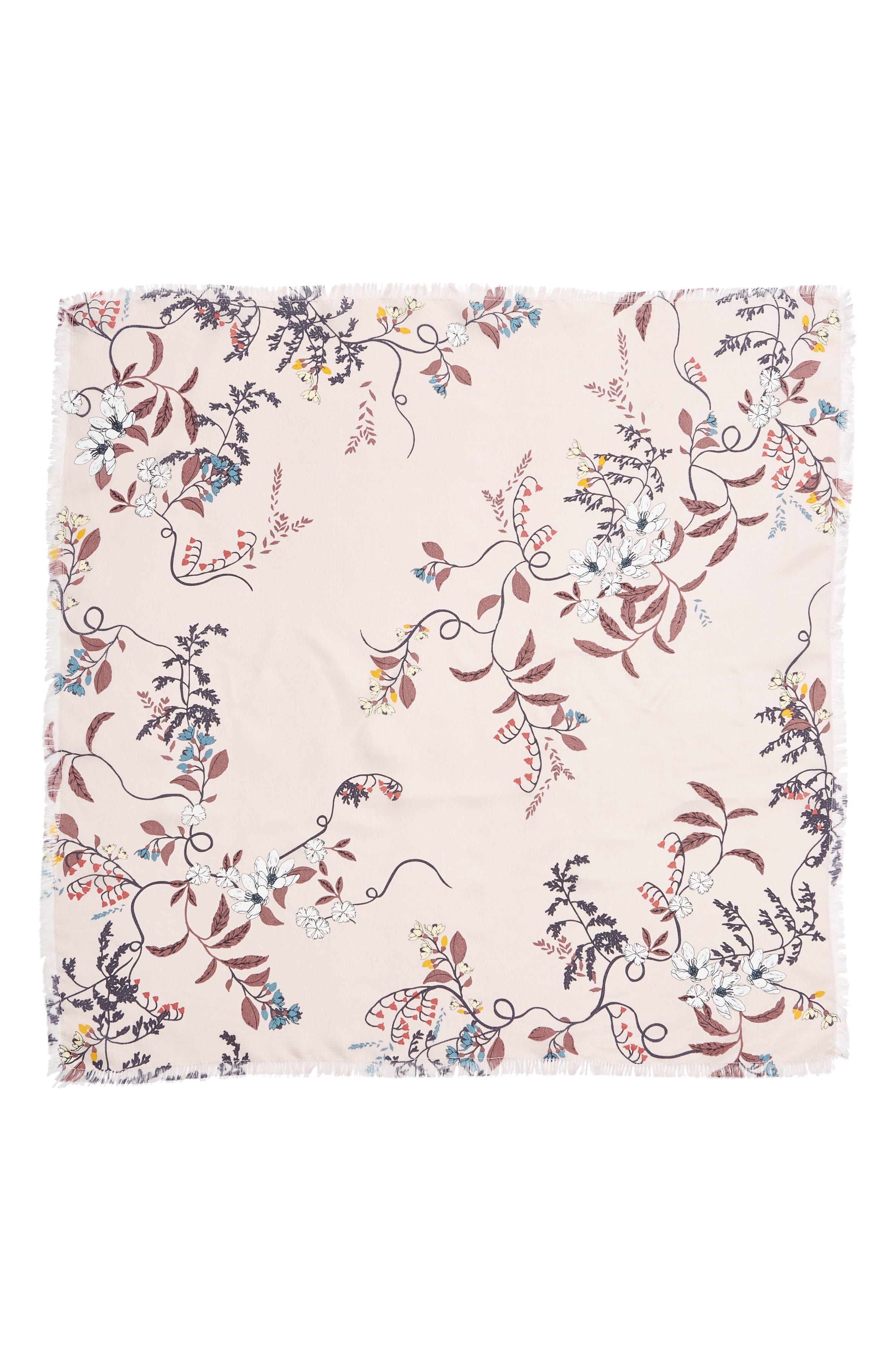 Print Square Silk Scarf, Alternate, color, PINK BOTANIC ROE