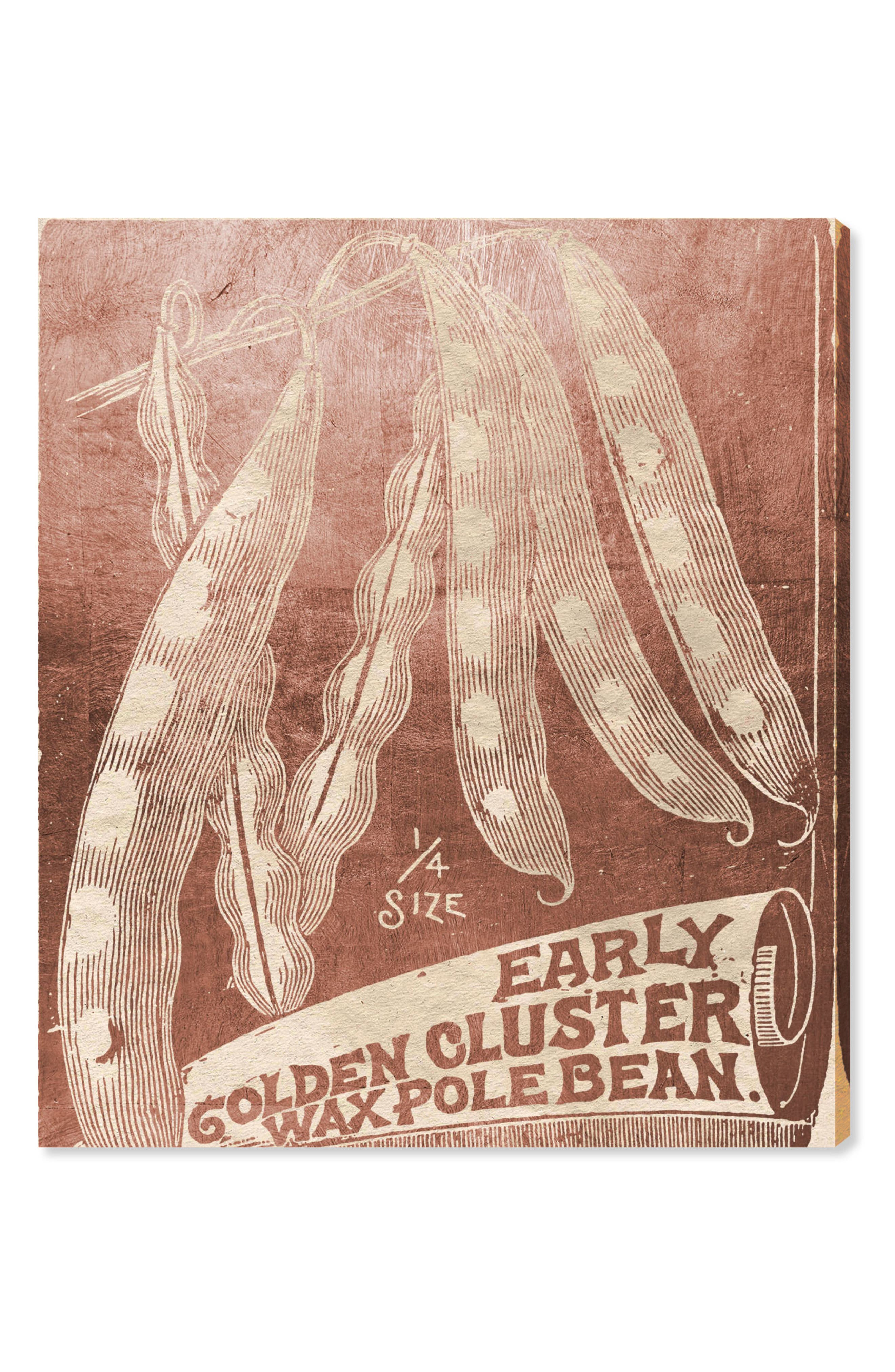 OLIVER GAL Beans Woodblock Canvas Wall Art, Main, color, PINK