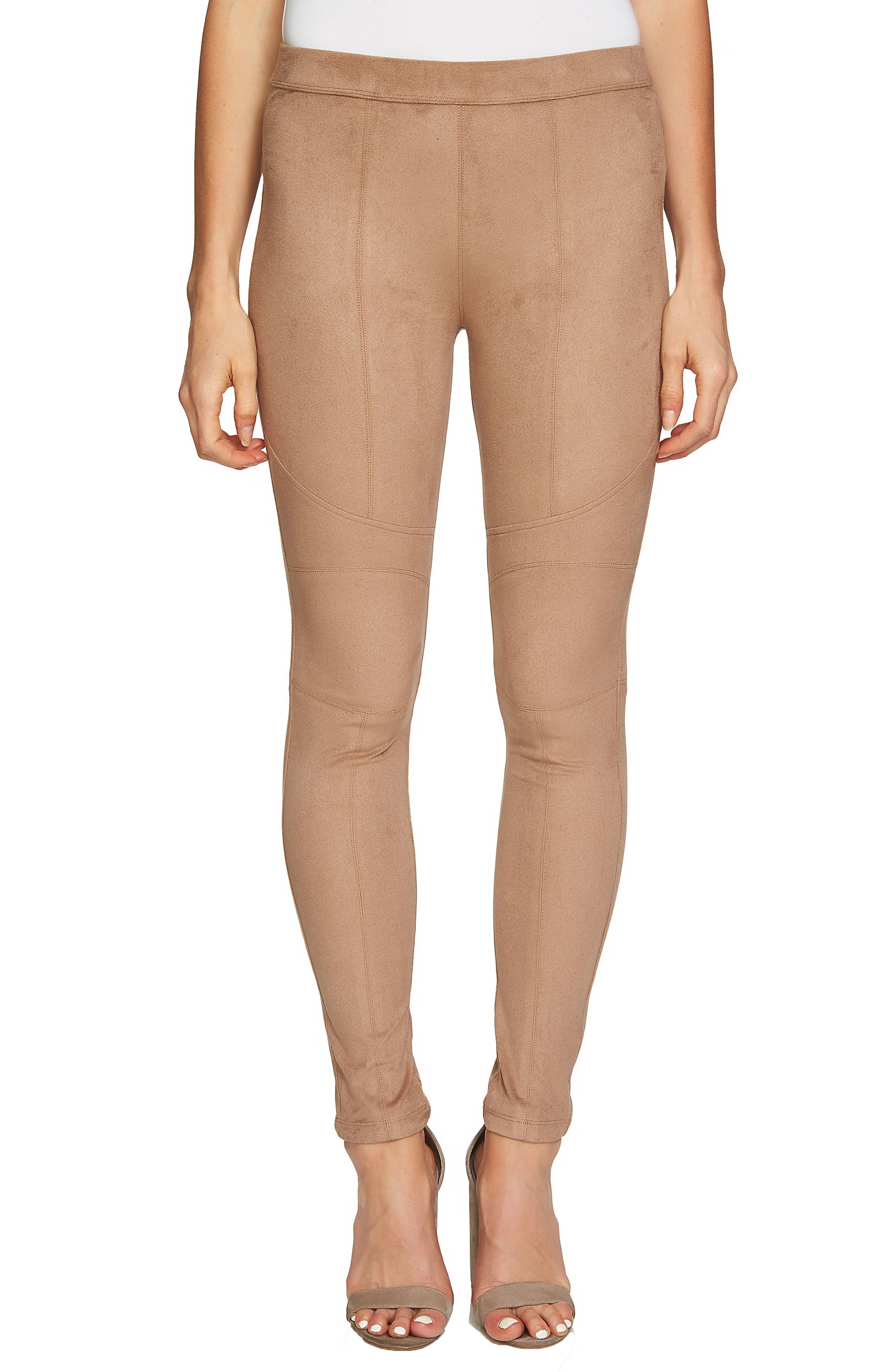 Seamed Faux Suede Leggings,                             Main thumbnail 1, color,                             254