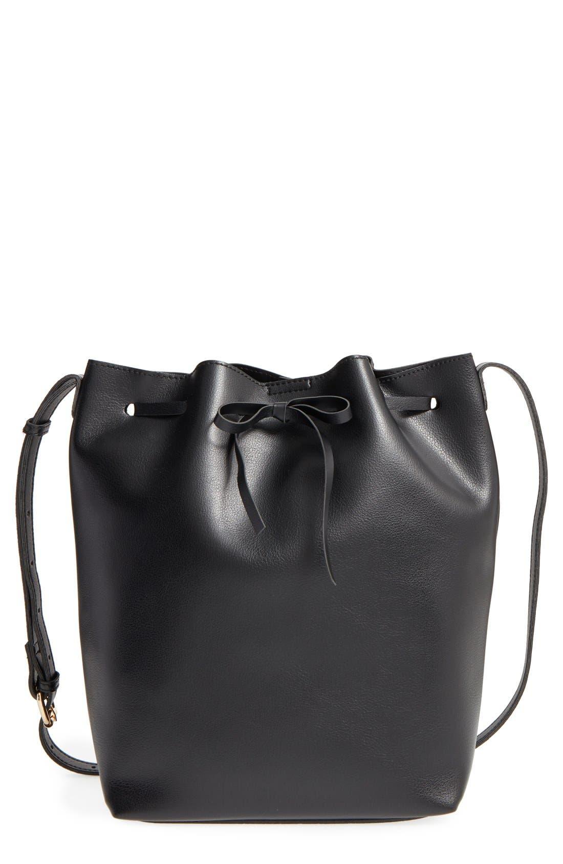 SOLE SOCIETY,                             'Blackwood' Faux Leather Bucket Bag,                             Main thumbnail 1, color,                             001