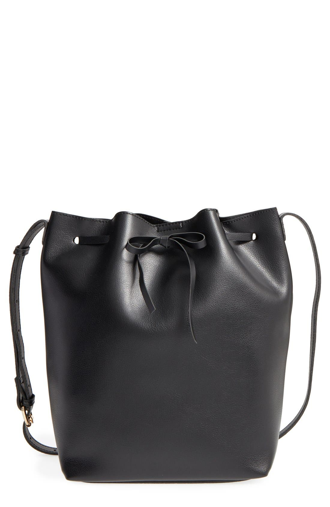 SOLE SOCIETY 'Blackwood' Faux Leather Bucket Bag, Main, color, 001