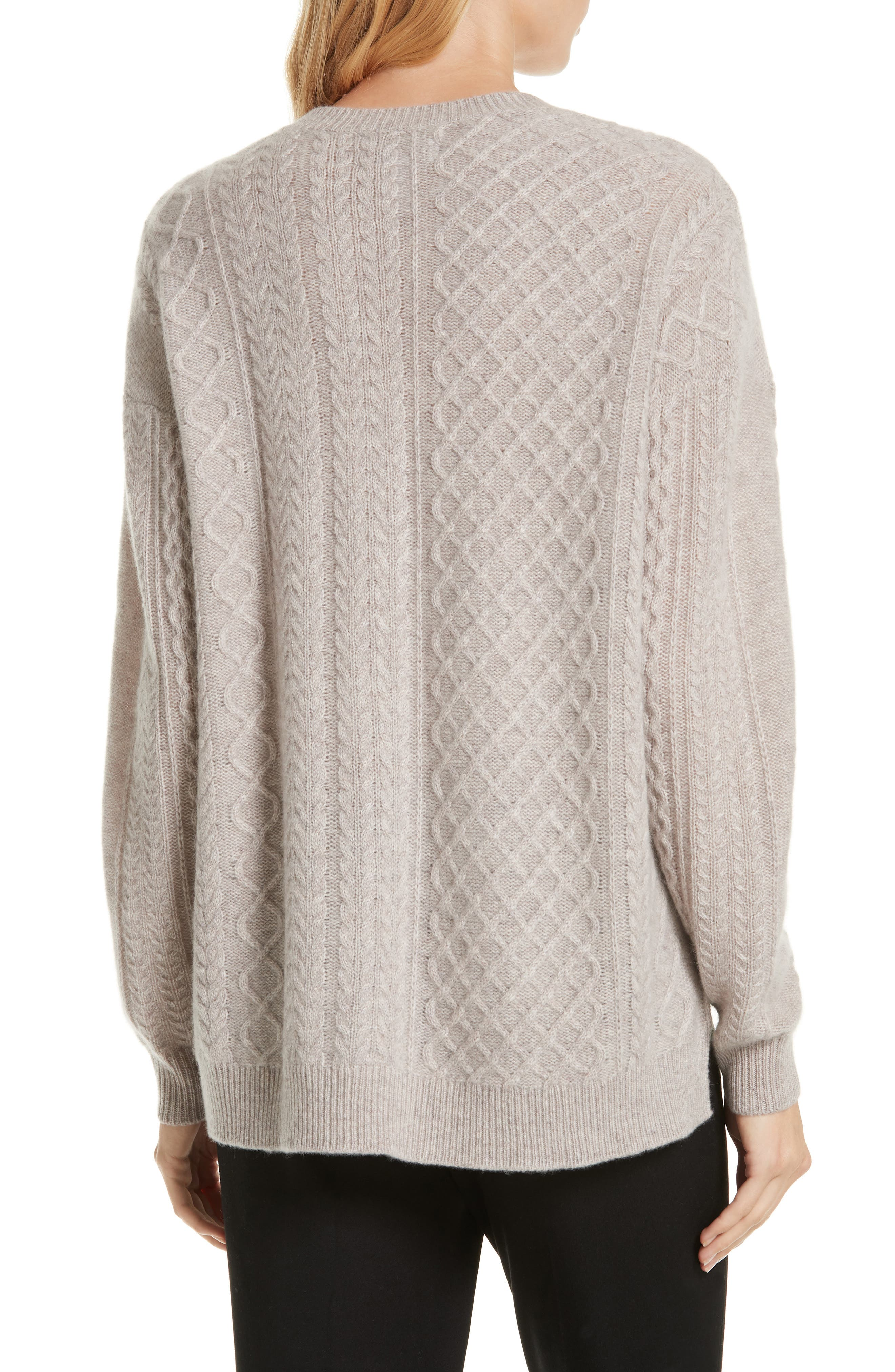 Cable Mix Asymmetrical Cashmere Sweater,                             Alternate thumbnail 2, color,                             BEIGE STRING HEATHER