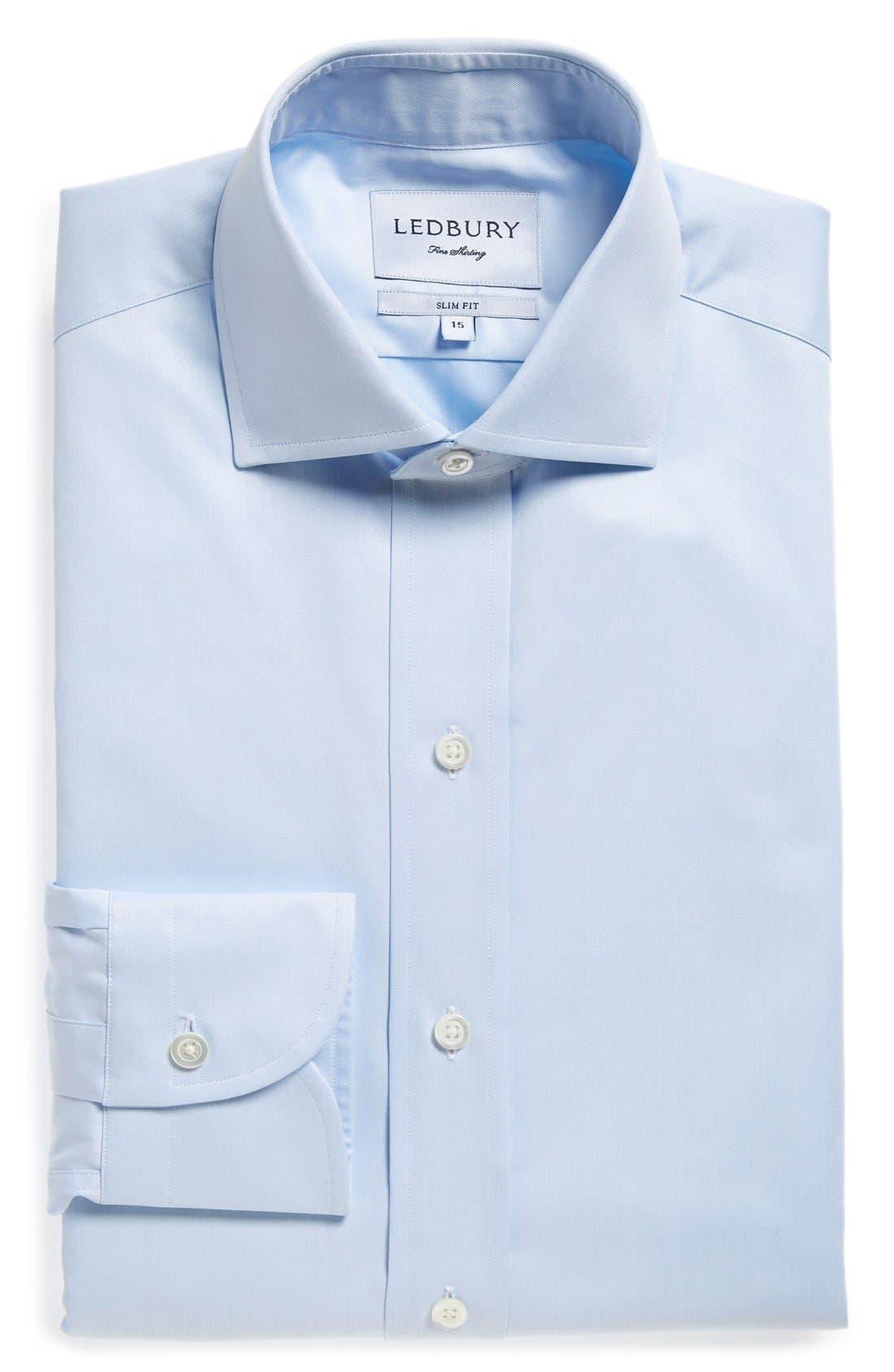 Slim Fit Dress Shirt,                         Main,                         color, BLUE