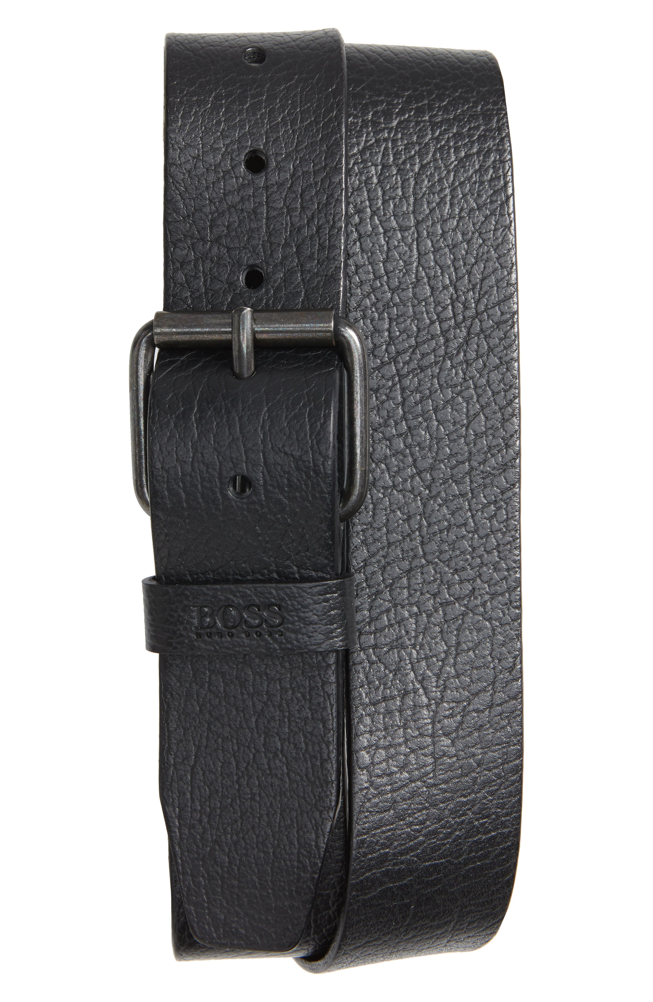 Boss Jesse Calfskin Leather Belt, Black