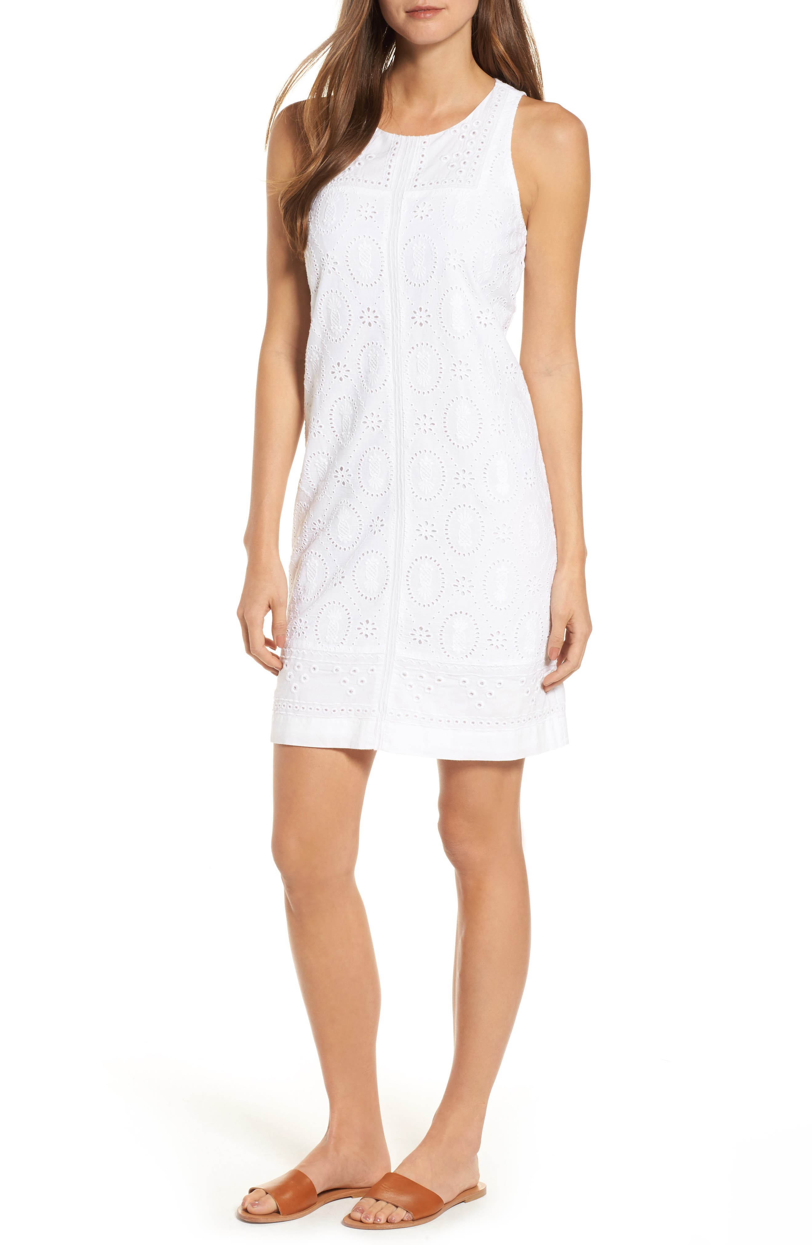 Pineapple Blossoms Shift Dress,                         Main,                         color, WHITE