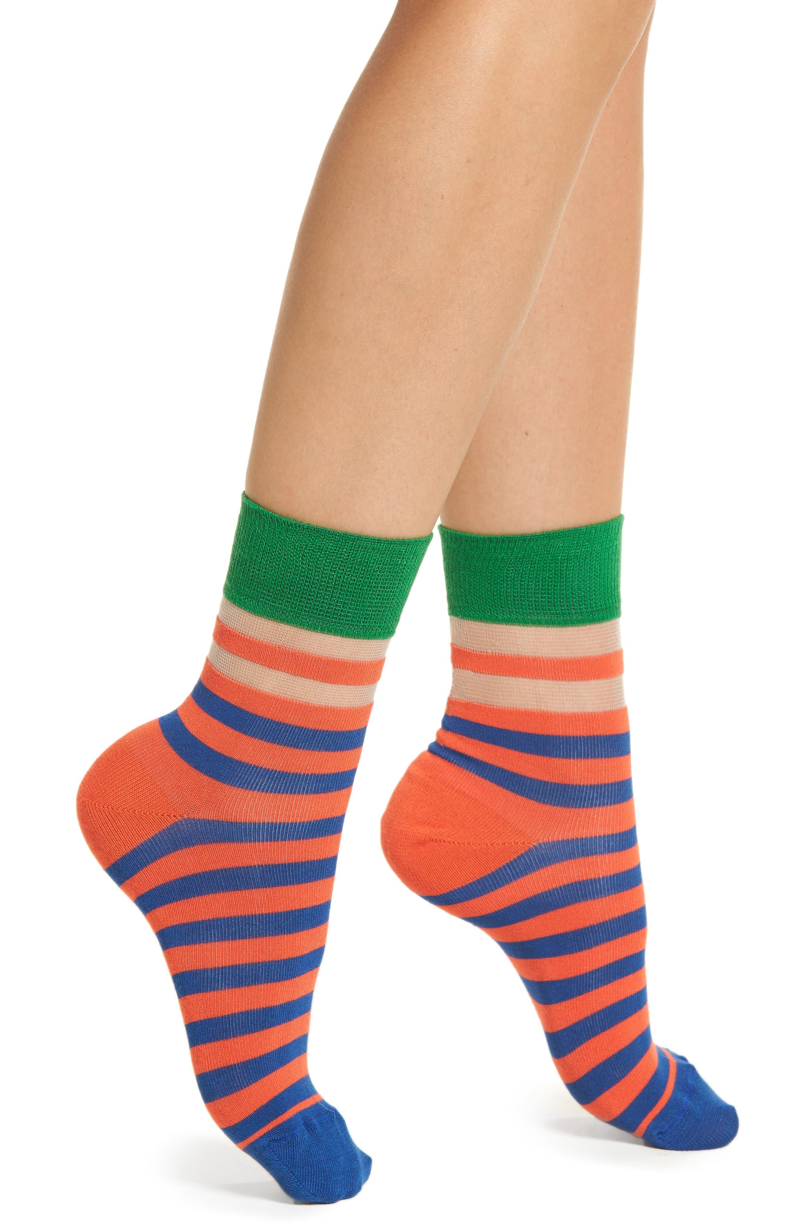 Verna Stripe Ankle Socks,                             Main thumbnail 1, color,                             610