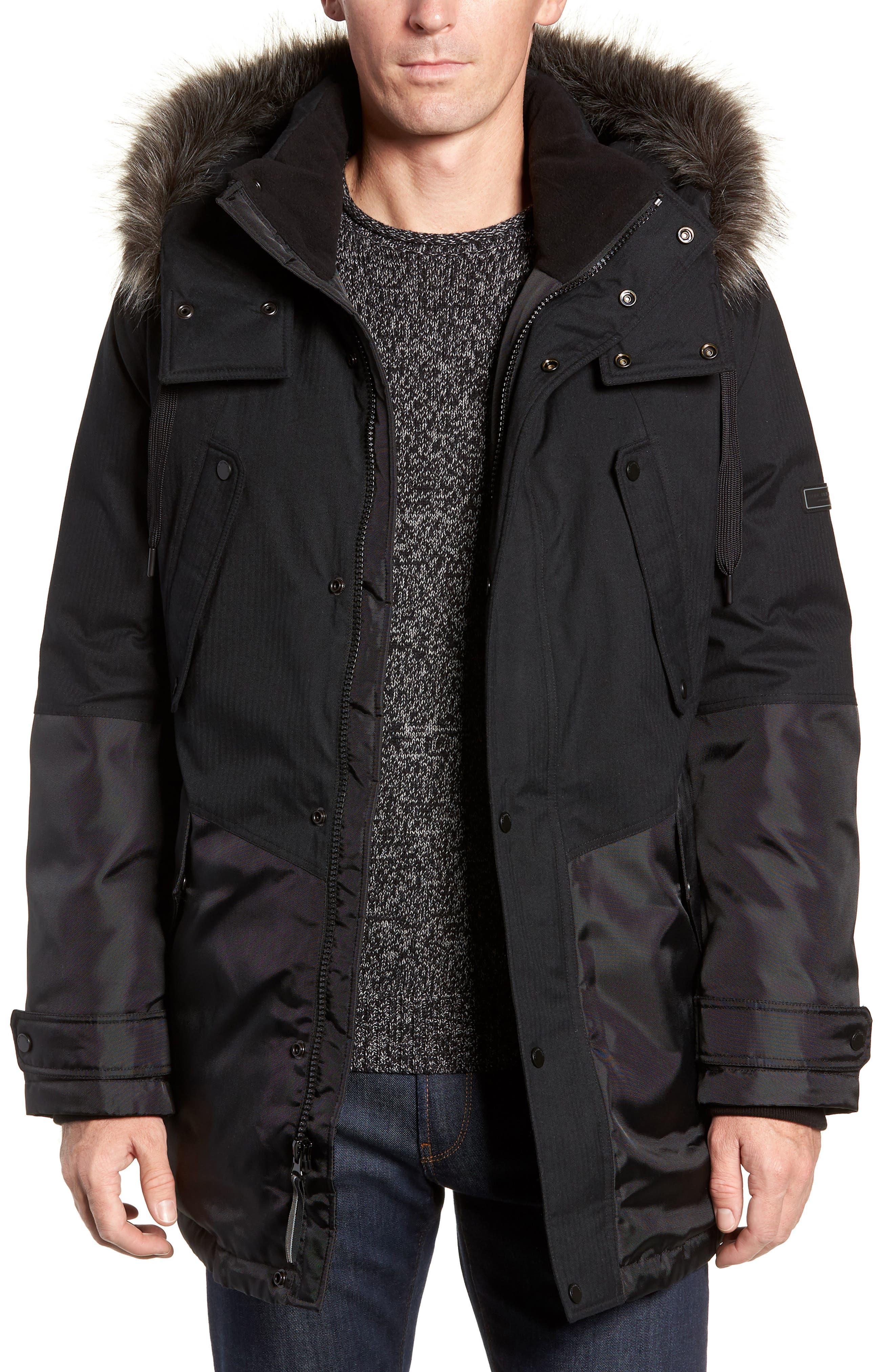 Maxfield Faux Fur Trim Parka,                         Main,                         color, BLACK