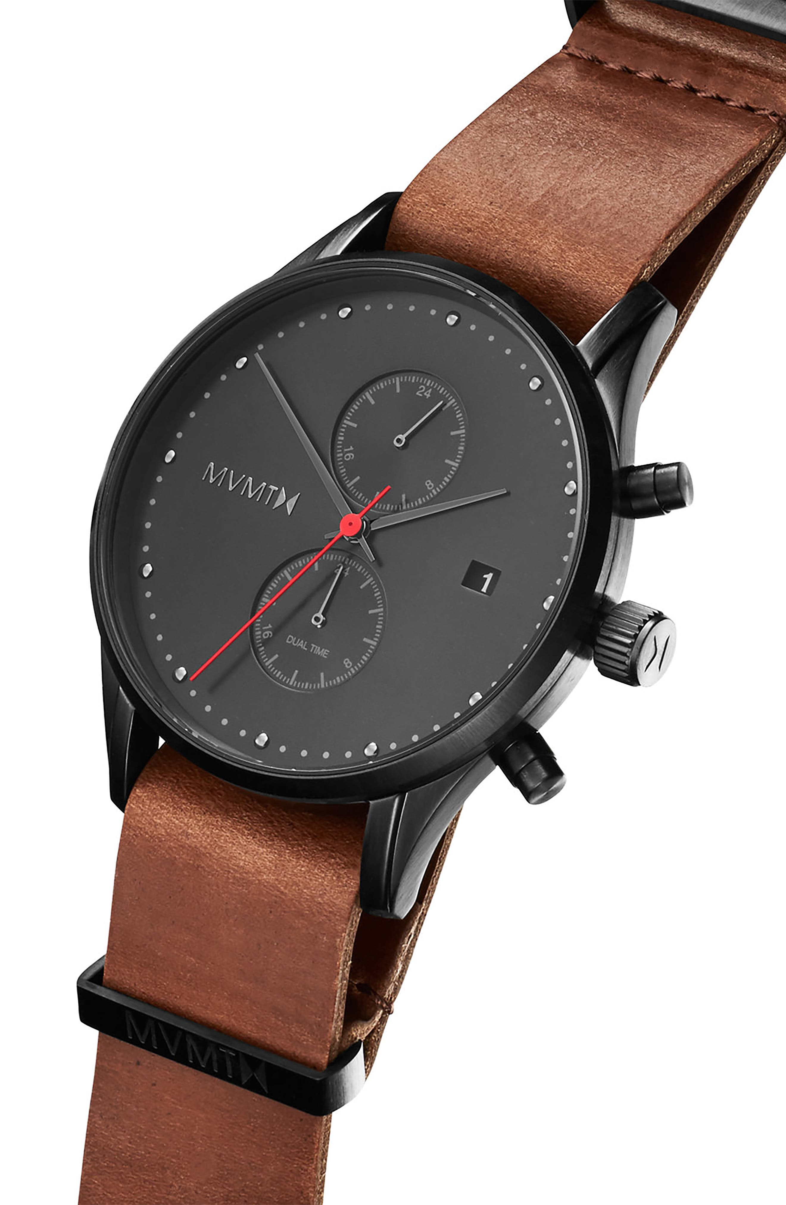 Outback Leather Strap Watch, 42mm,                             Alternate thumbnail 4, color,                             BROWN/ BLACK