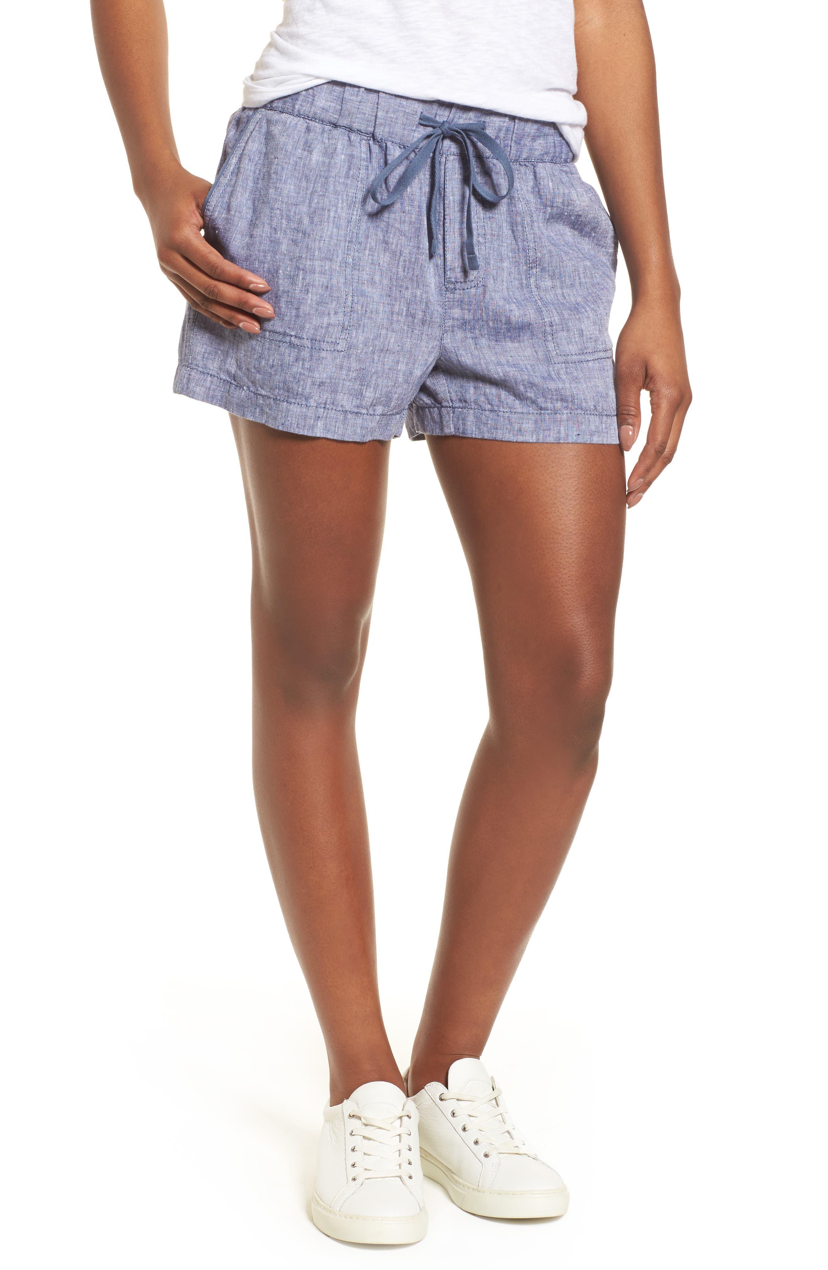 Linen Shorts,                             Main thumbnail 1, color,                             NAVY CROSSDYE