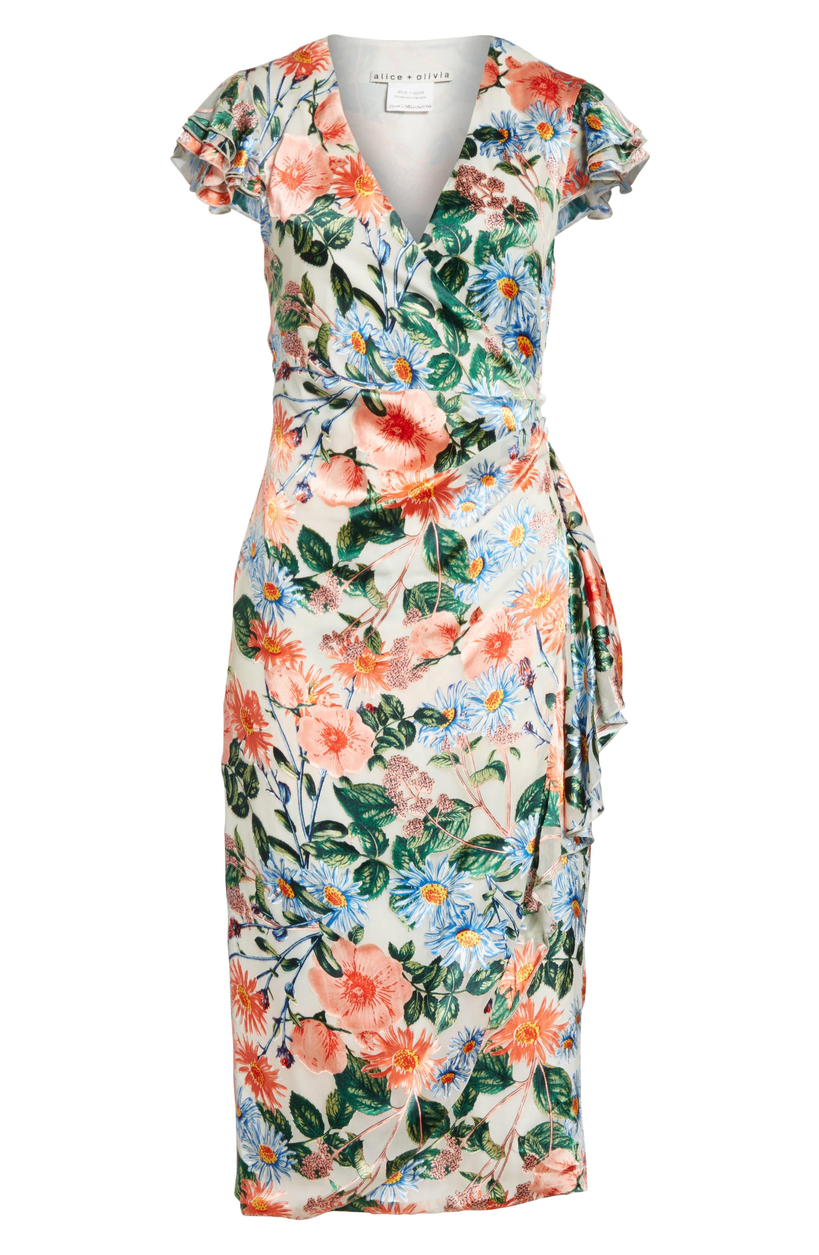 Garnet Floral Wrap Dress,                             Alternate thumbnail 6, color,                             470