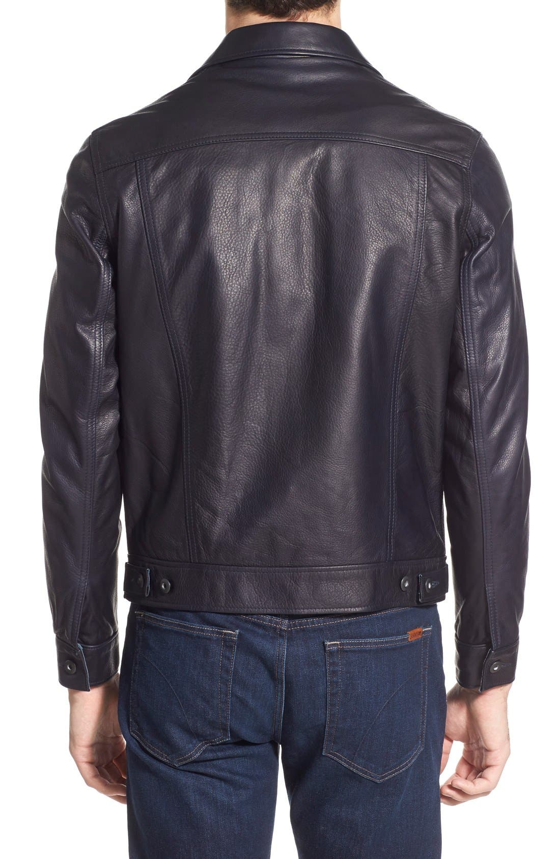 SCHOTT NYC,                             Washed Leather Trucker Jacket,                             Alternate thumbnail 2, color,                             410