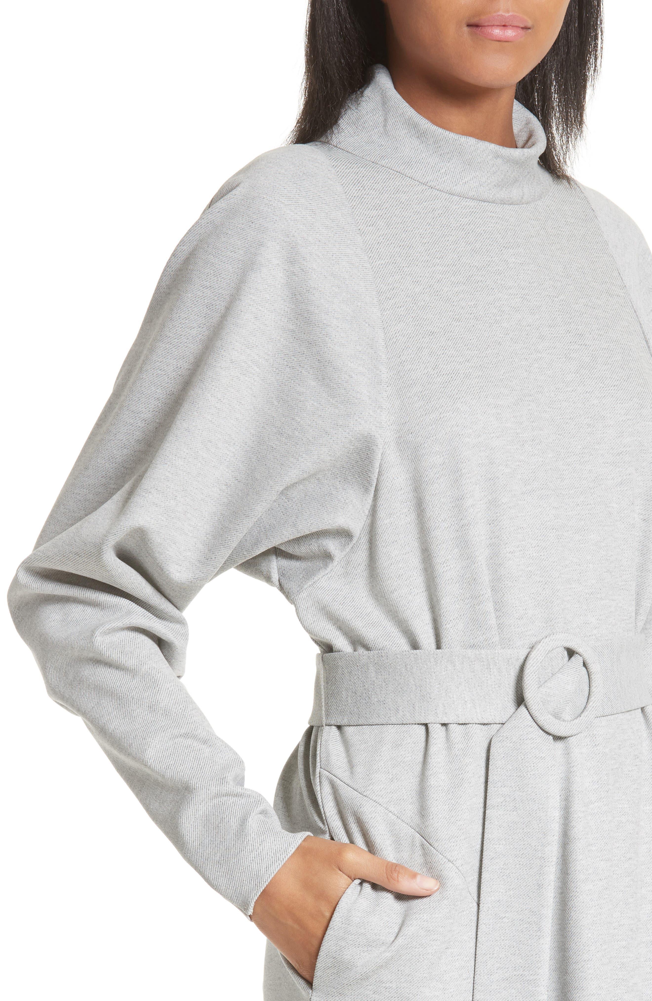 Dolman Sleeve Stretch Twill Midi Dress,                             Alternate thumbnail 4, color,                             020