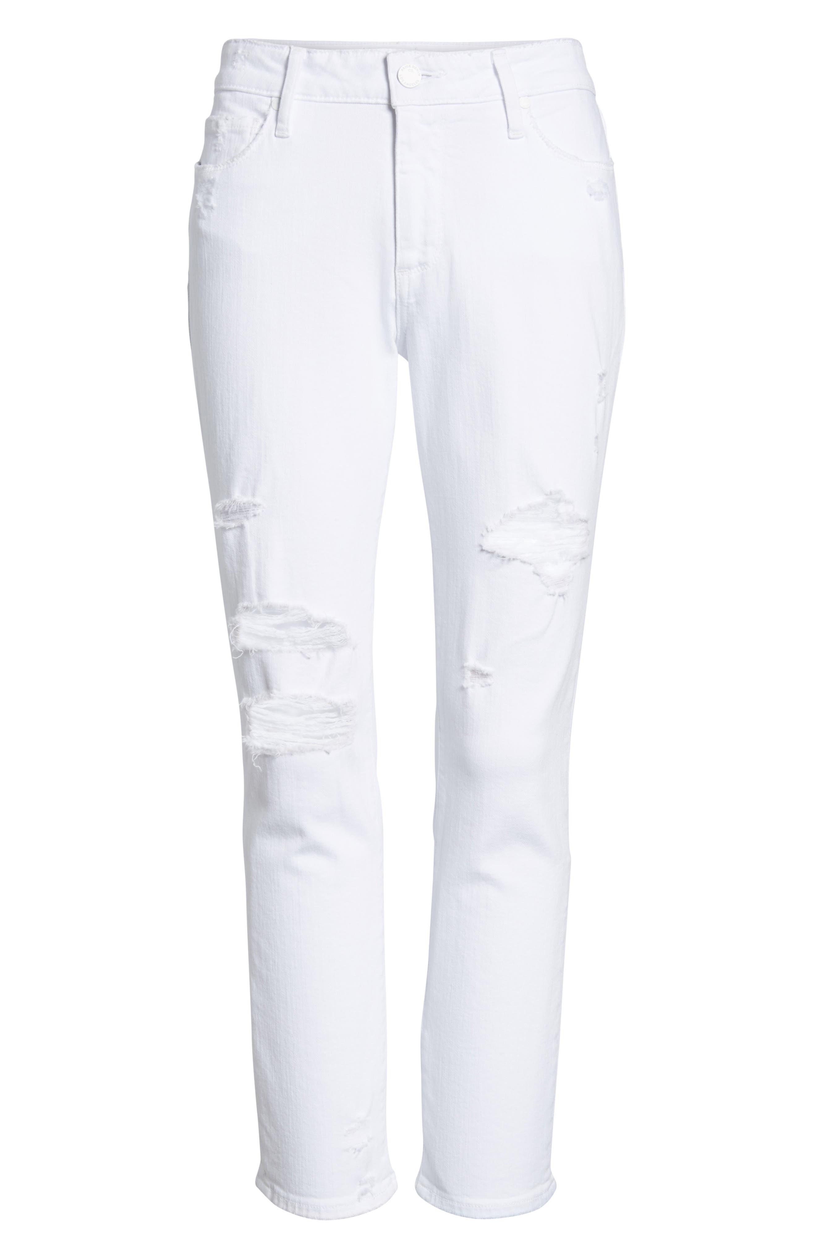 Brigitte Ripped Crop Boyfriend Jeans,                             Alternate thumbnail 7, color,                             100