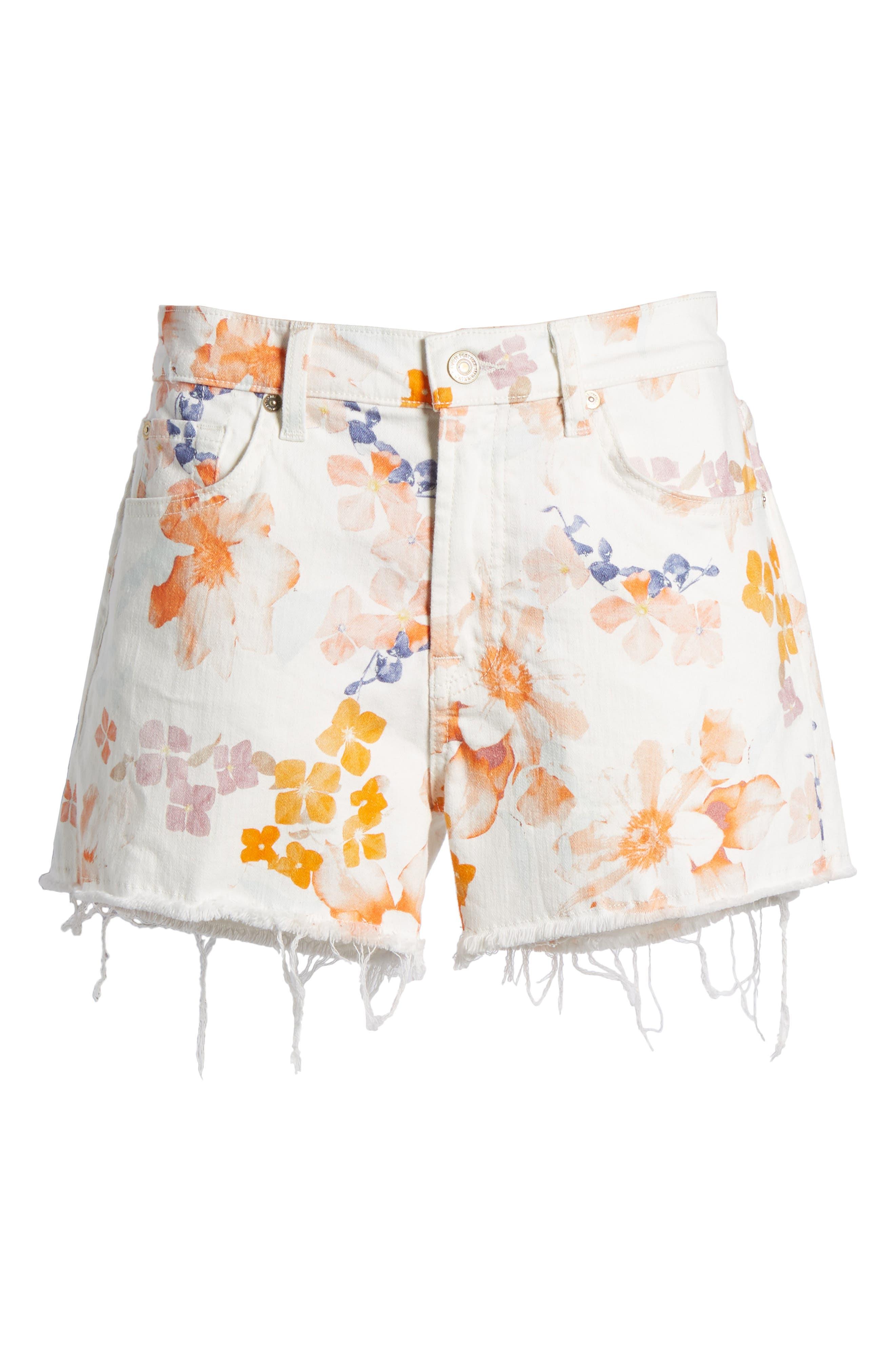 Cutoff Denim Shorts,                             Alternate thumbnail 7, color,                             651