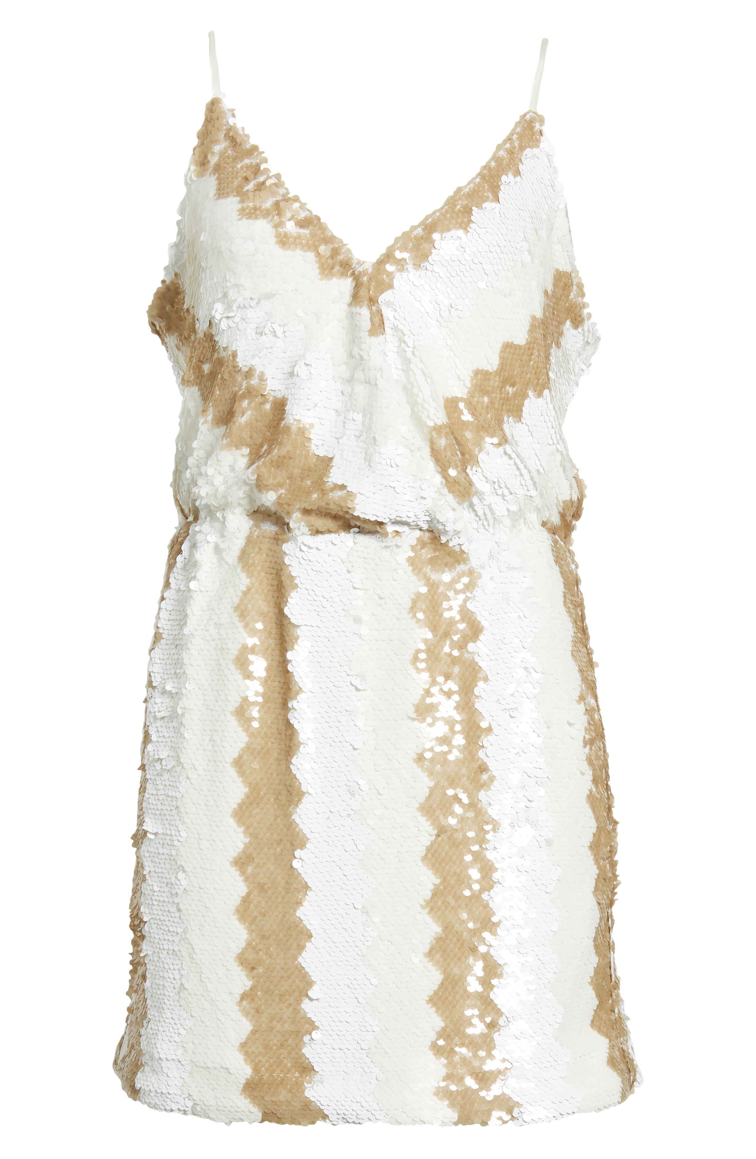 Sequin Minidress,                             Alternate thumbnail 7, color,                             WHITE