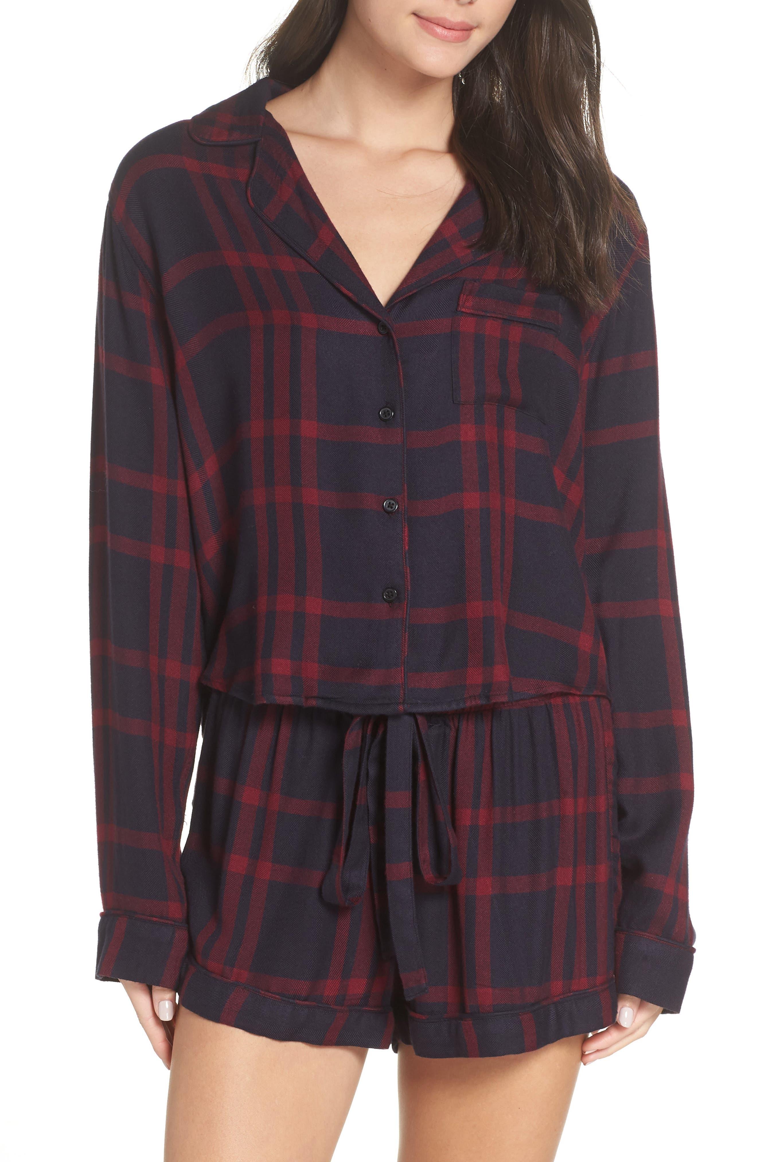 Short Pajamas,                             Main thumbnail 1, color,                             BLACK CHERRY