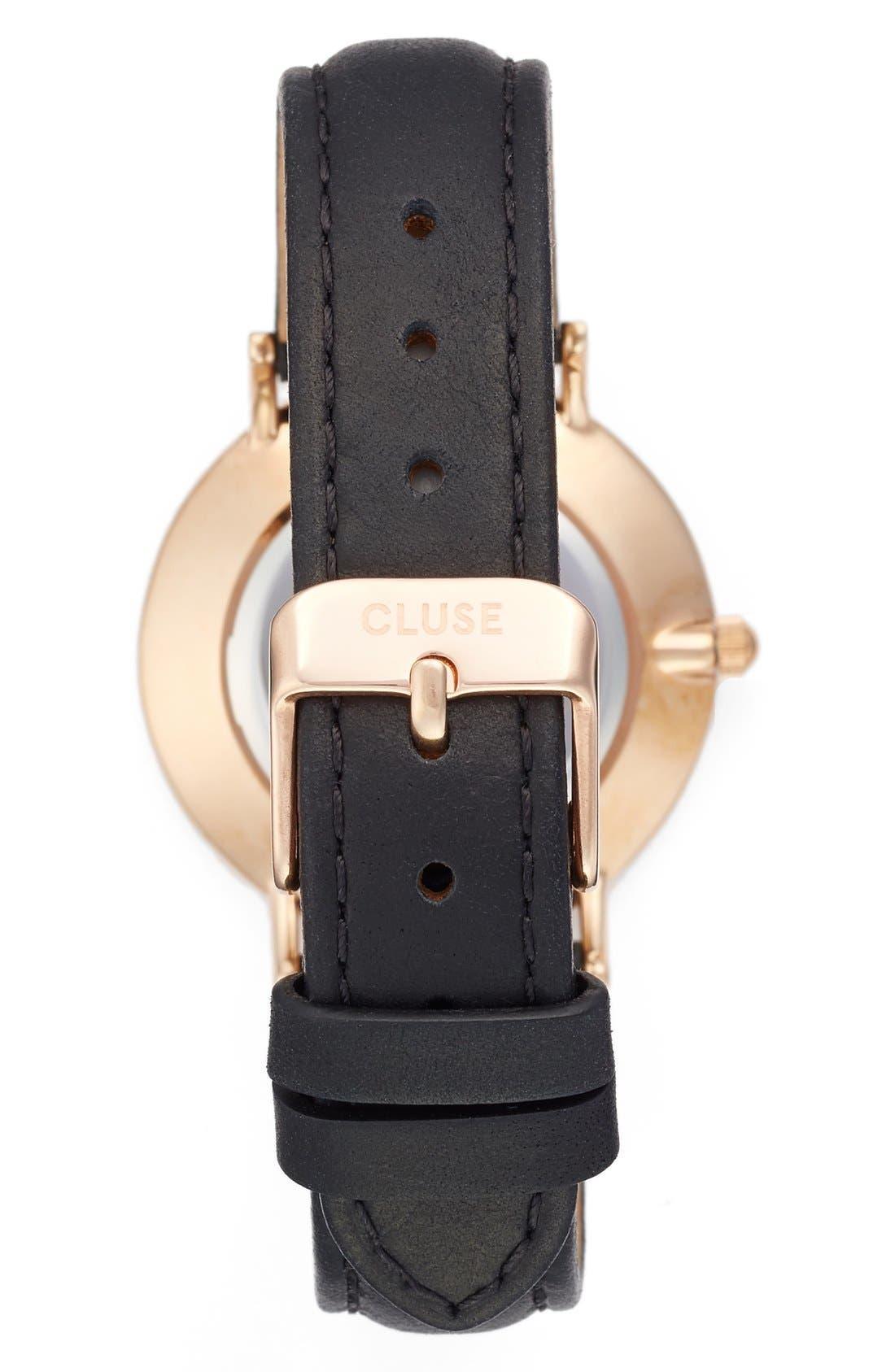'Minuit' Leather Strap Watch, 33mm,                             Alternate thumbnail 3, color,                             001