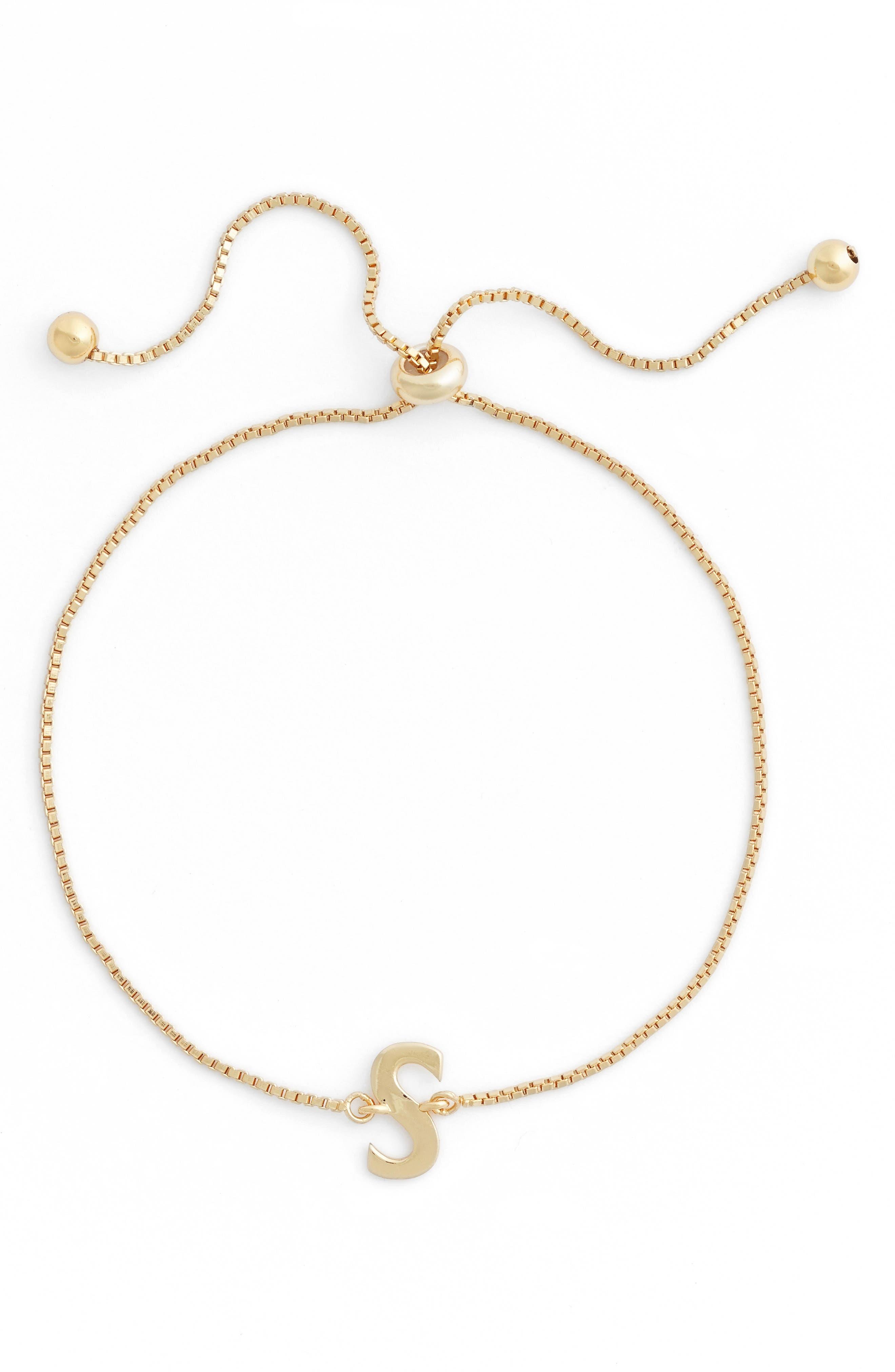 Gold Initial Bracelet,                         Main,                         color, S- GOLD