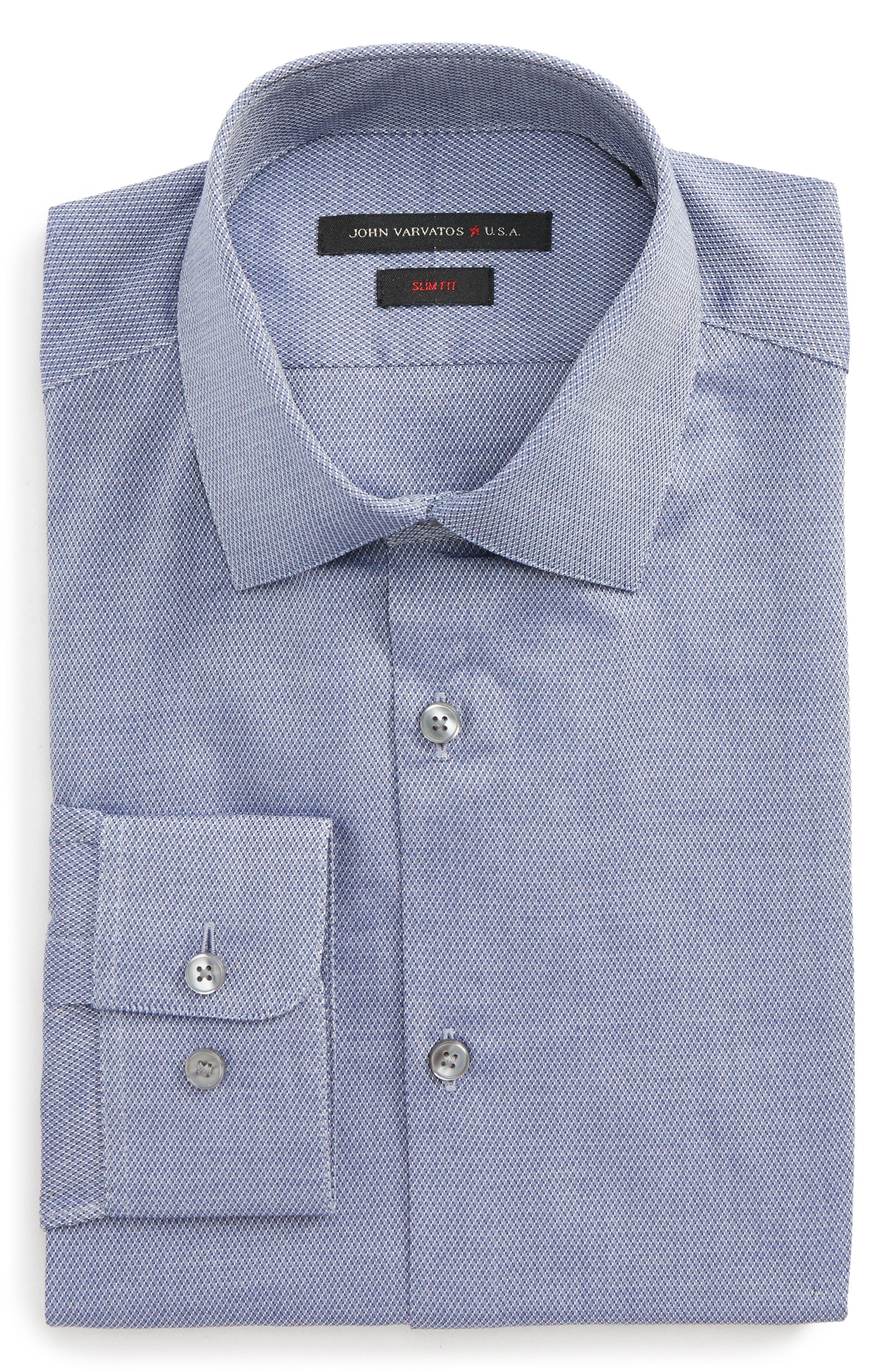 Slim Fit Stretch Geometric Dress Shirt,                         Main,                         color, 439