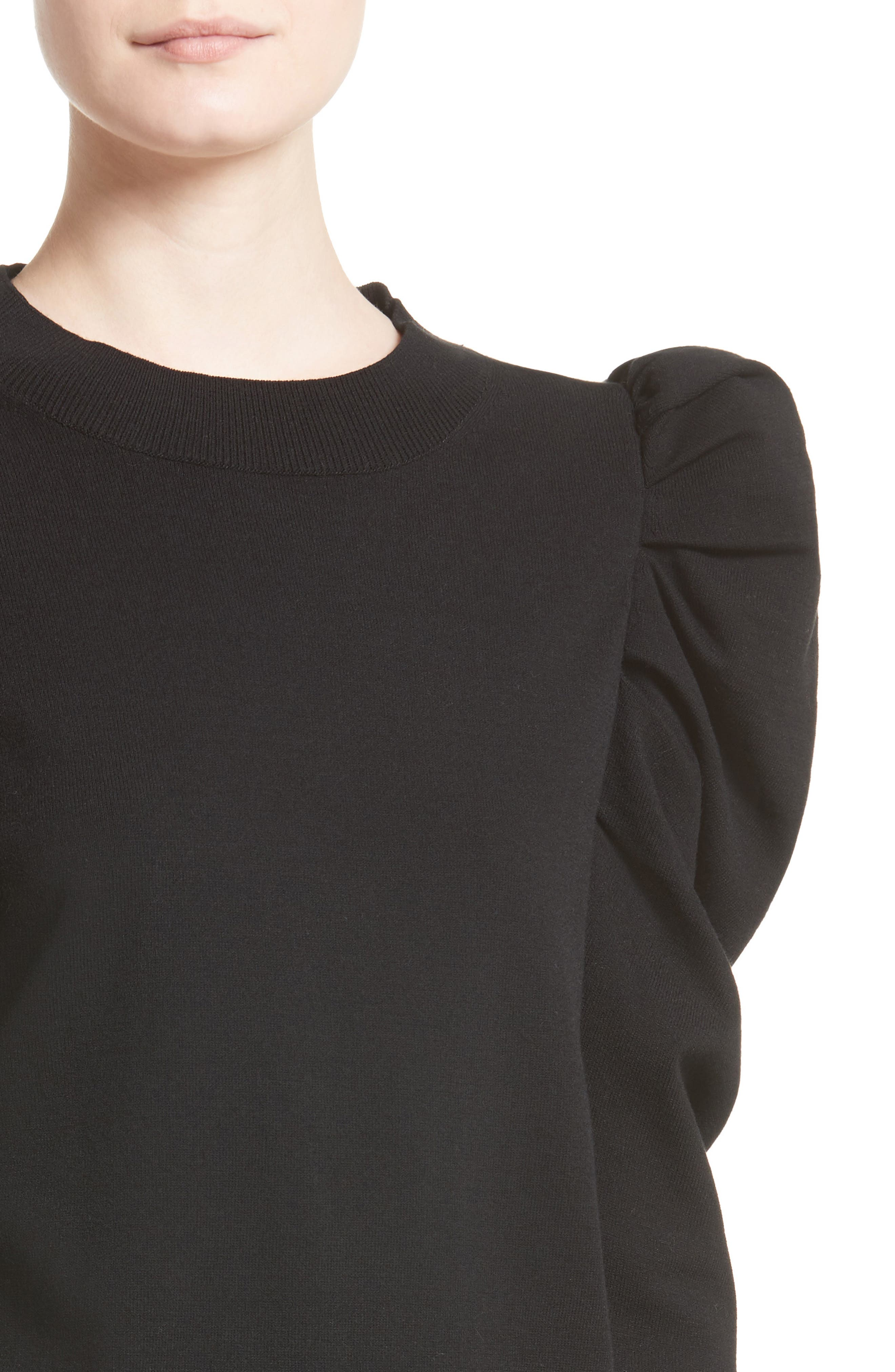 Felted Knit Puff Sleeve Sweater,                             Alternate thumbnail 4, color,                             001
