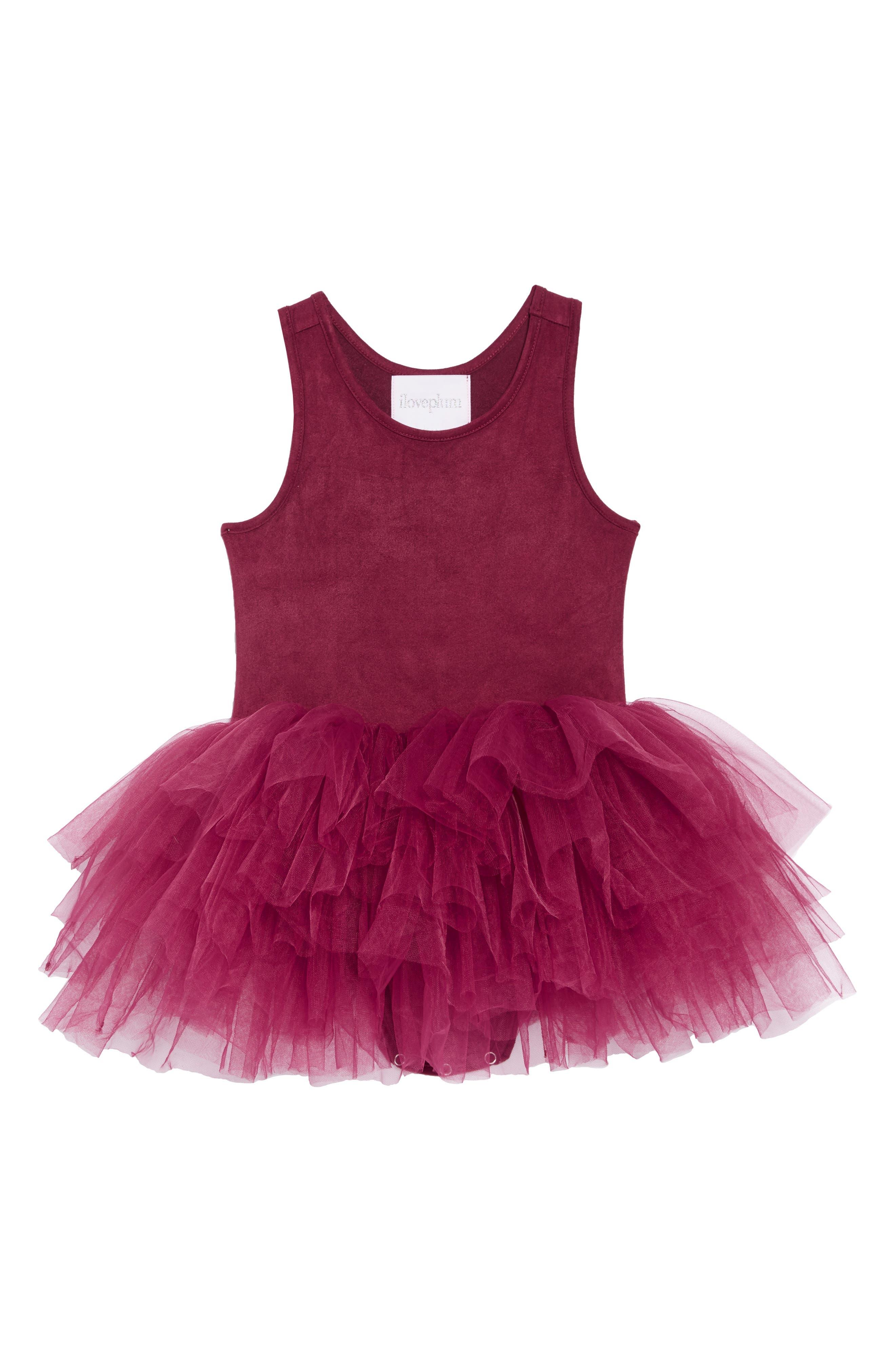Tutu Dress,                         Main,                         color, MAROON