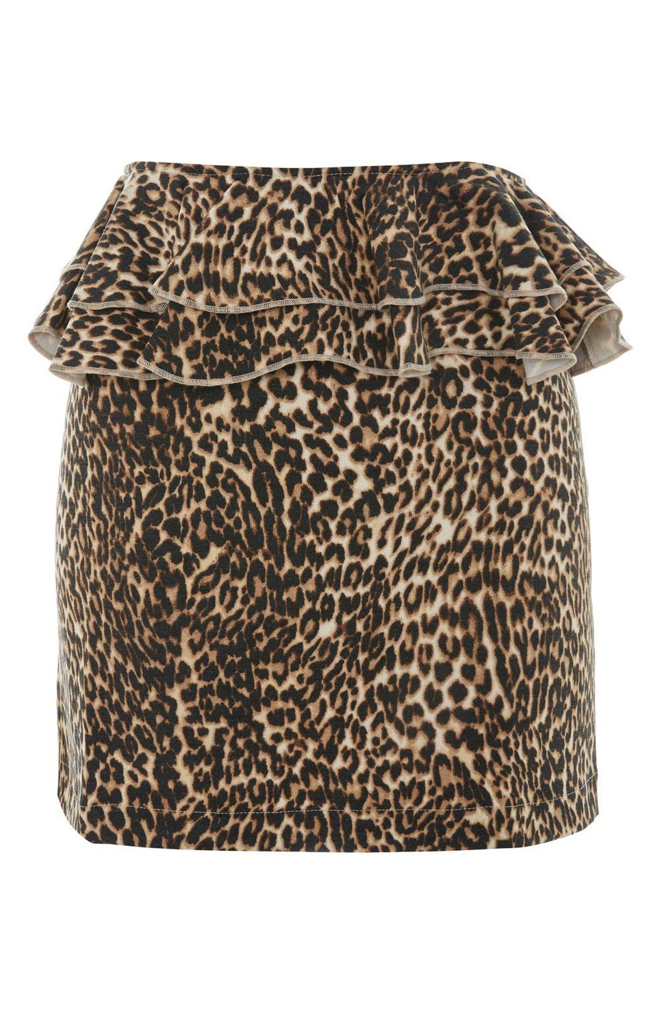 Leopard Print Ruffle Skirt,                             Alternate thumbnail 3, color,