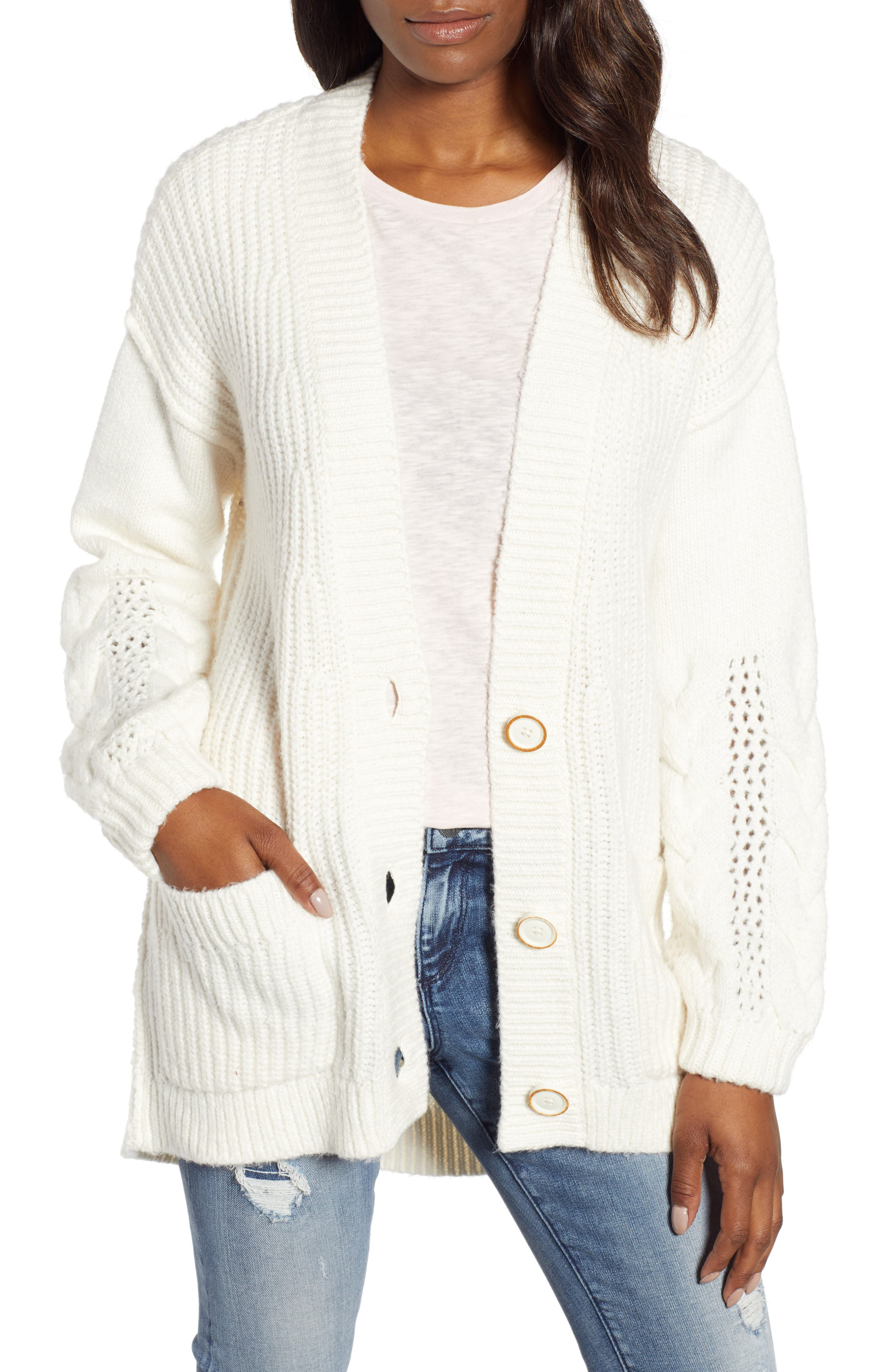 Caslon Cable Knit Sleeve Cardigan, Ivory