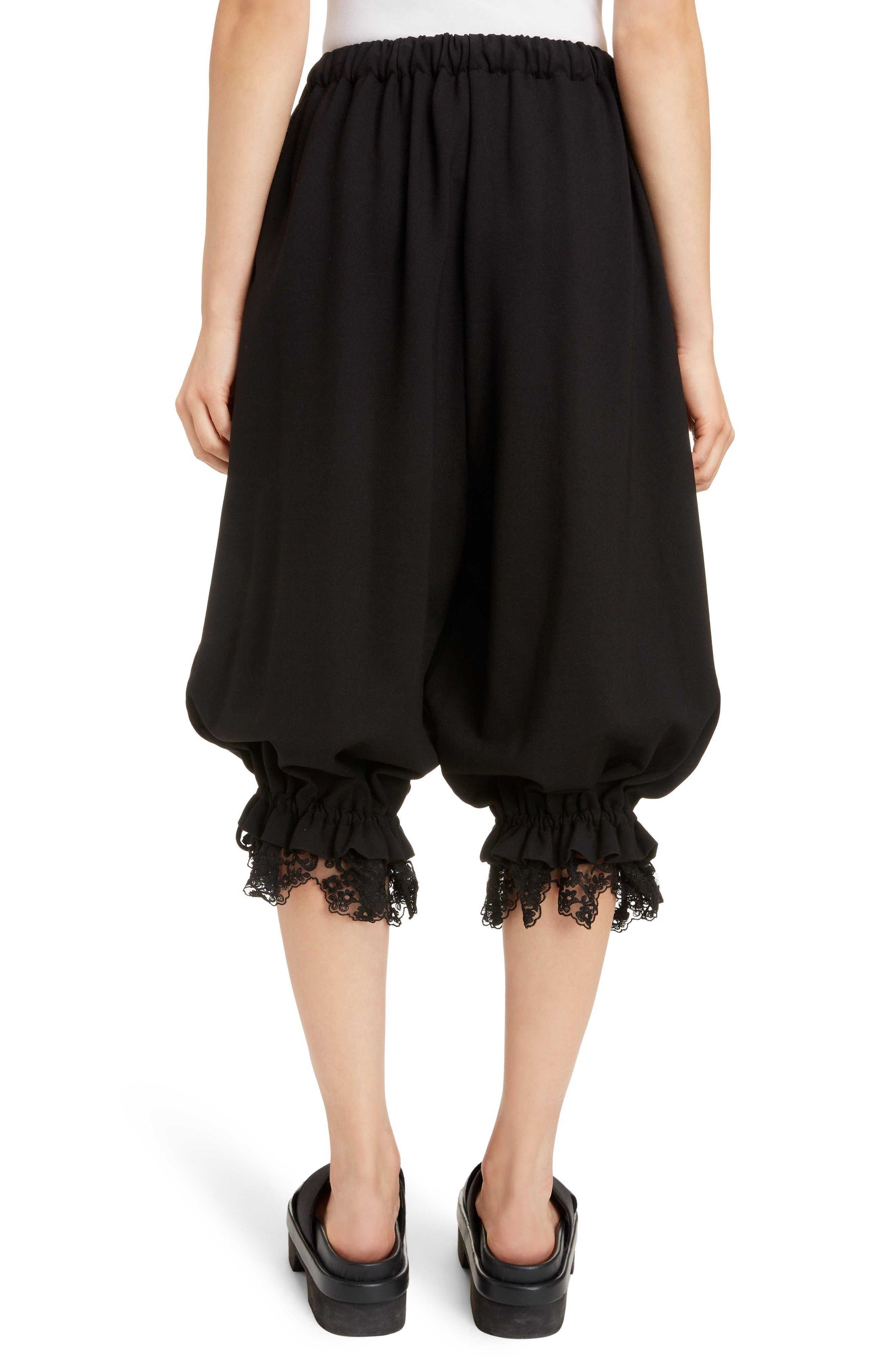 Lace Trim Culottes,                             Alternate thumbnail 2, color,                             BLACK