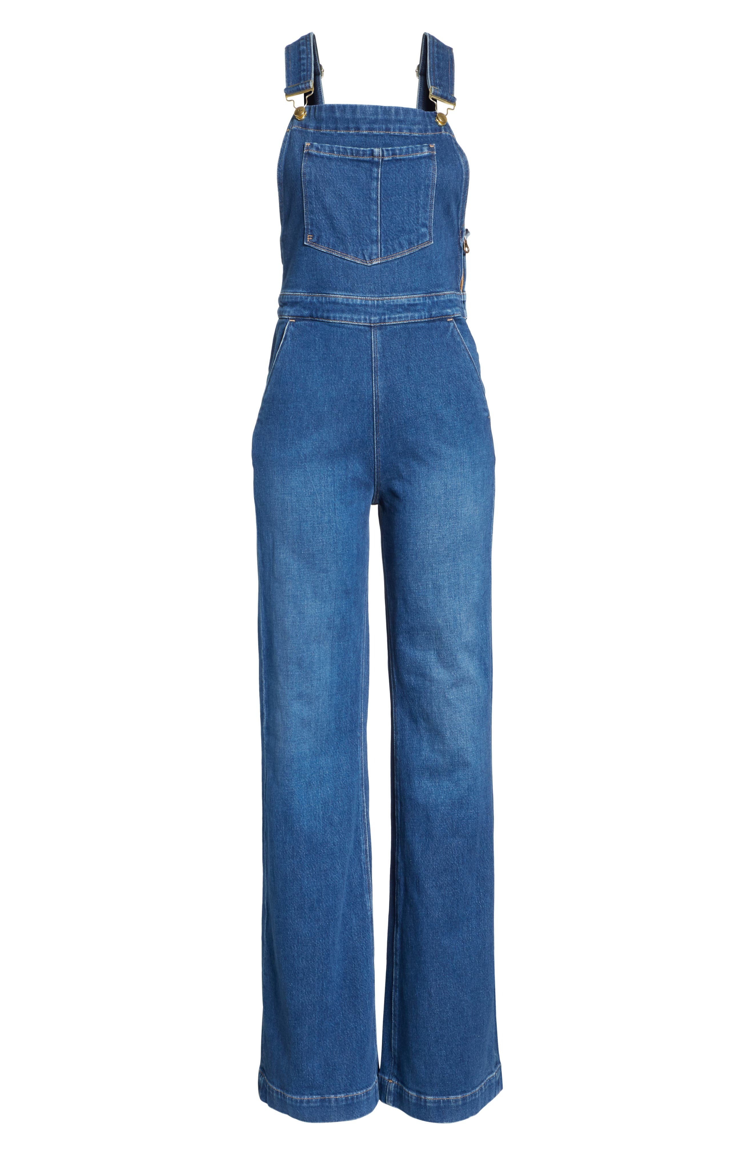 FRAME,                             Palazzo Wide Leg Denim Overalls,                             Alternate thumbnail 6, color,                             420