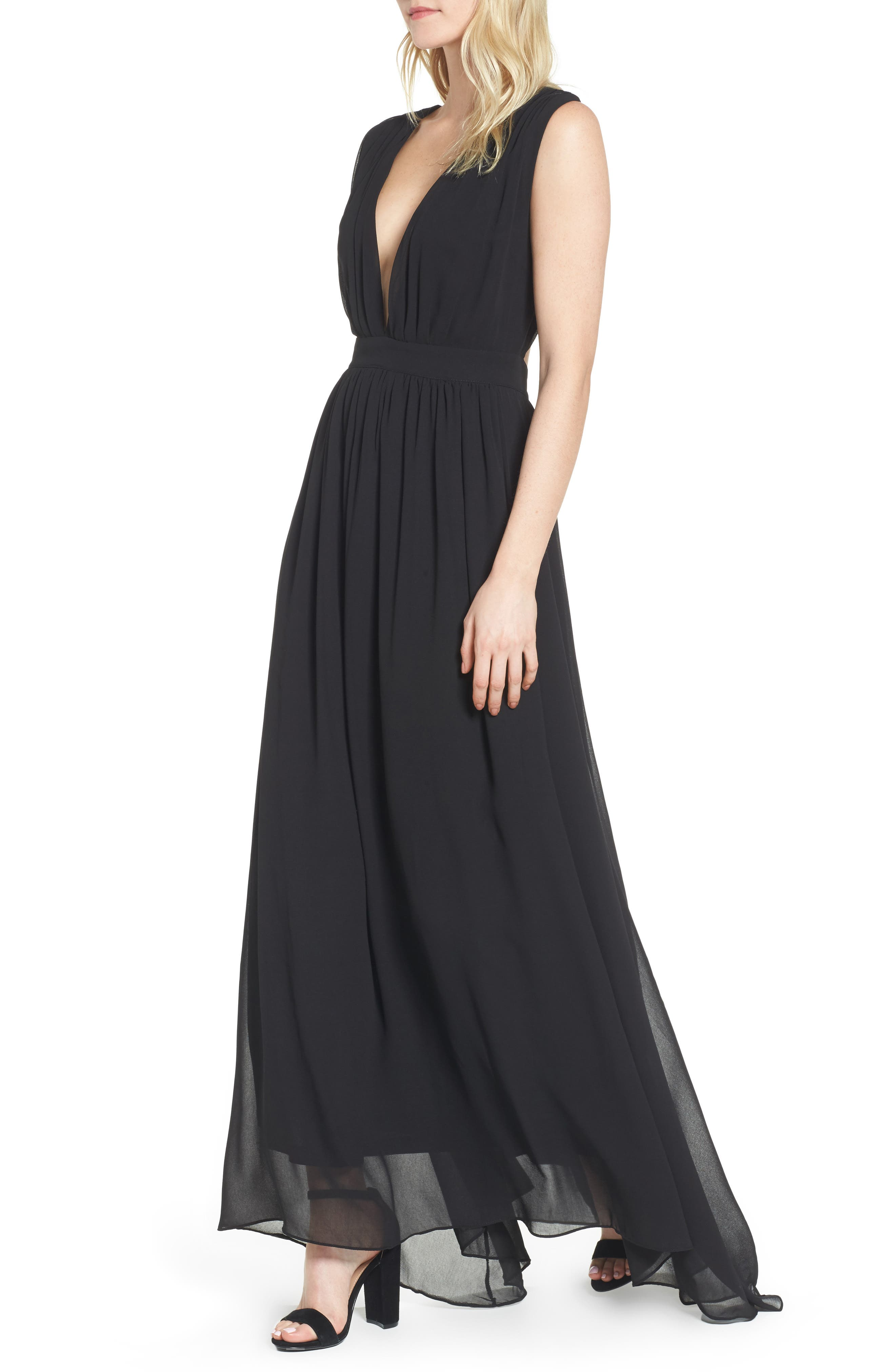 Bishop + Young Plunging Maxi Dress,                         Main,                         color, 001