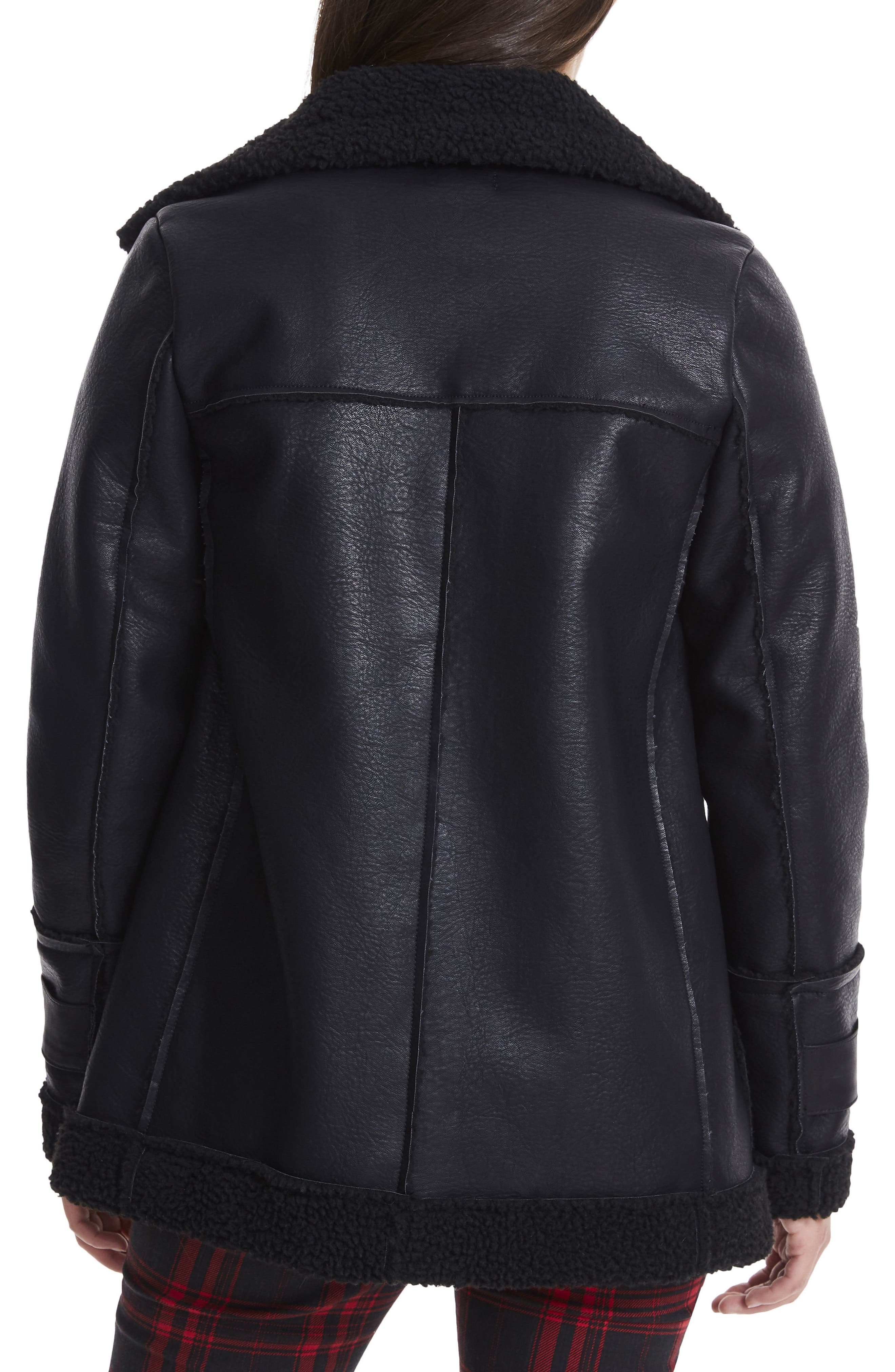 Opelia Oversize Faux Shearling Jacket,                             Alternate thumbnail 2, color,                             001