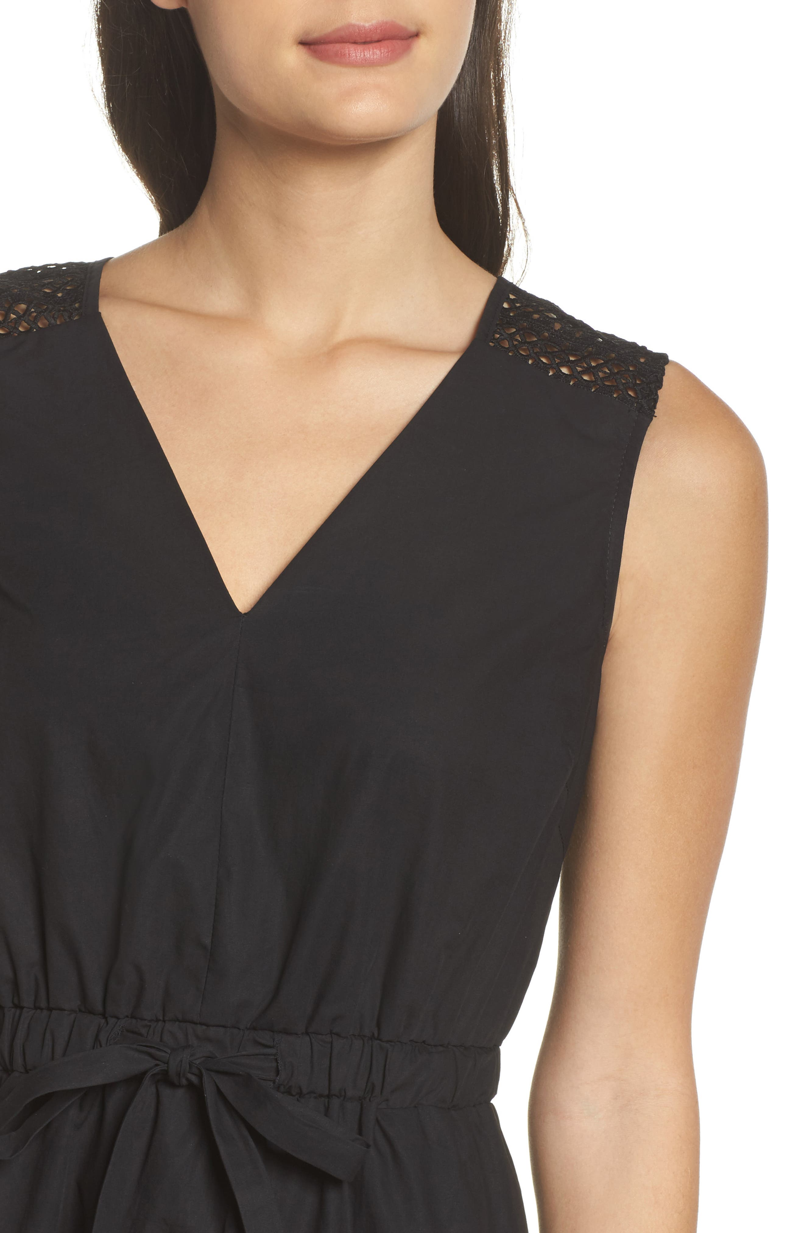 Leah Lace Trim A-Line Dress,                             Alternate thumbnail 4, color,                             001