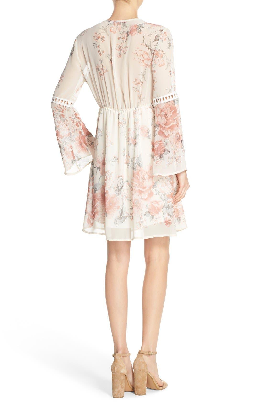 Floral Print Chiffon Blouson Dress,                             Alternate thumbnail 2, color,                             270