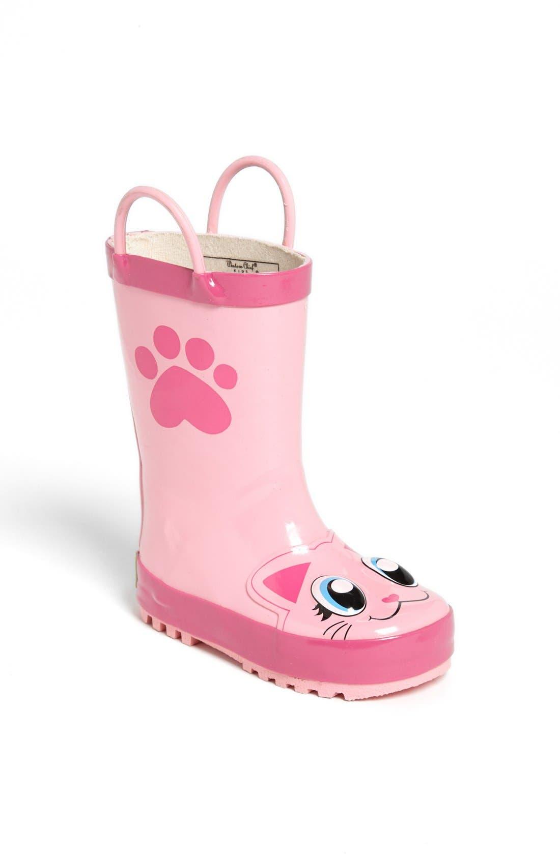 'Kitty' Rain Boot,                             Main thumbnail 1, color,                             PINK