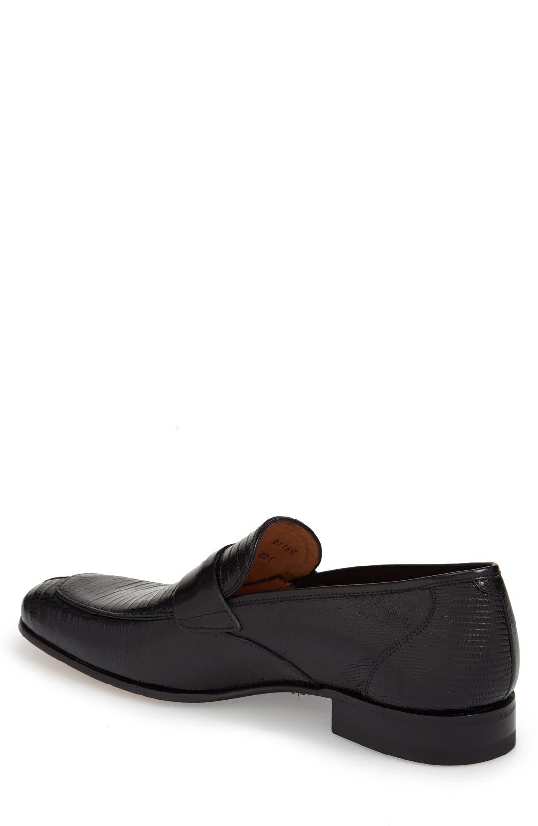'Lipari' Lizard Leather Penny Loafer,                             Alternate thumbnail 2, color,                             BLACK