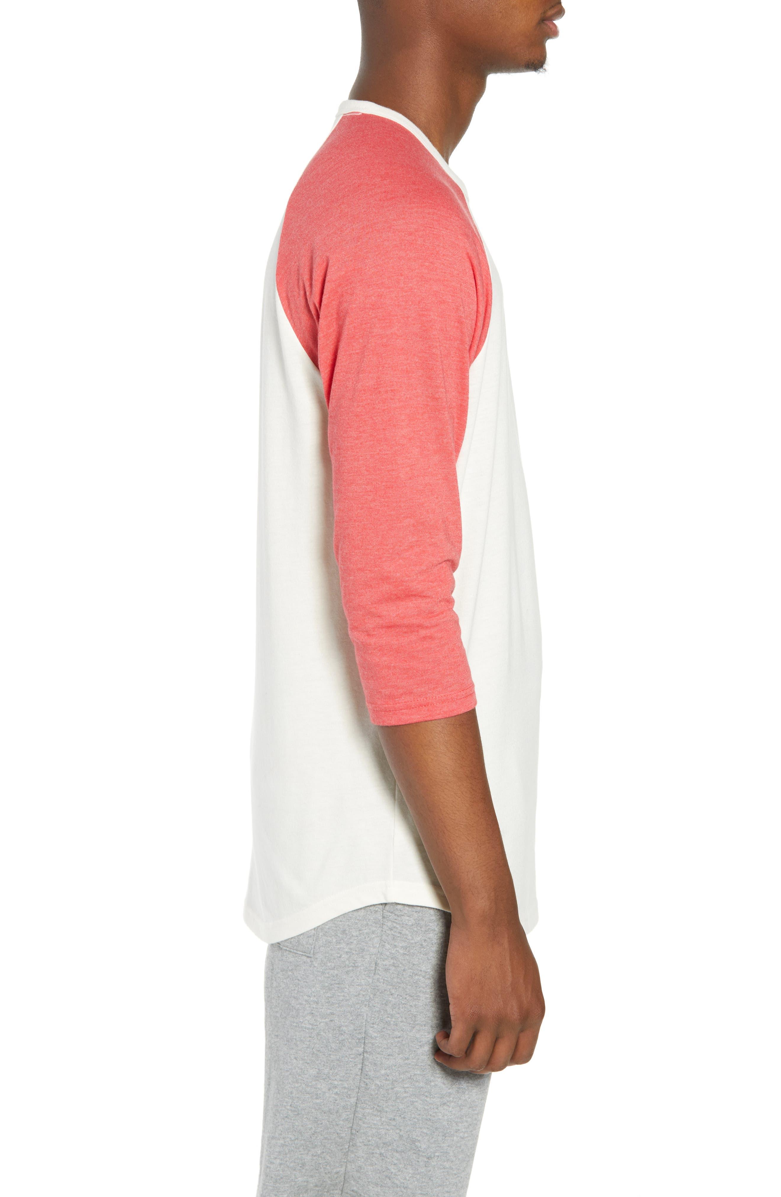Baseball T-Shirt,                             Alternate thumbnail 3, color,                             IVORY EGRET-RED SAUCY