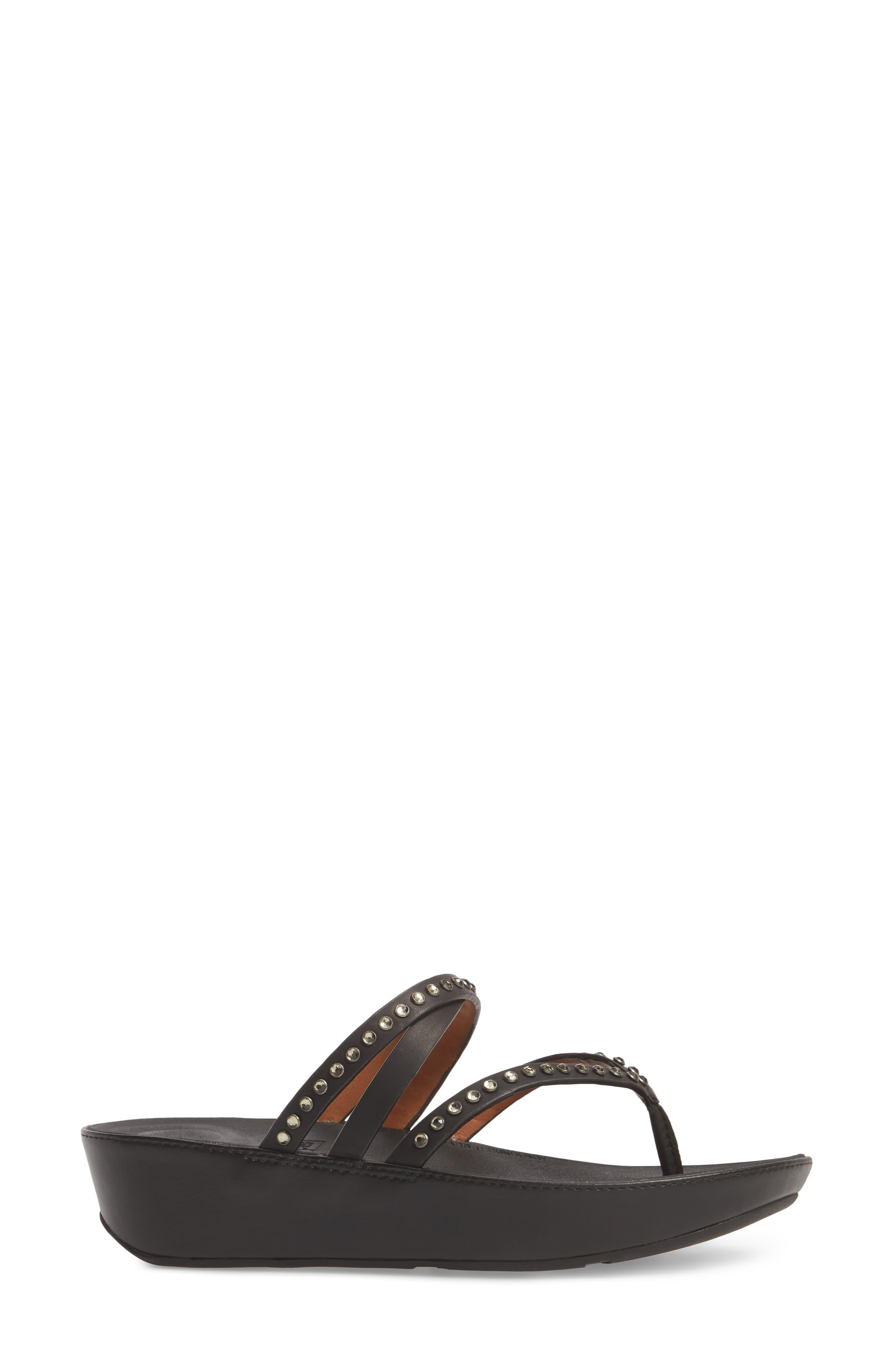 Linny Embellished Slide Sandal,                             Alternate thumbnail 3, color,                             001