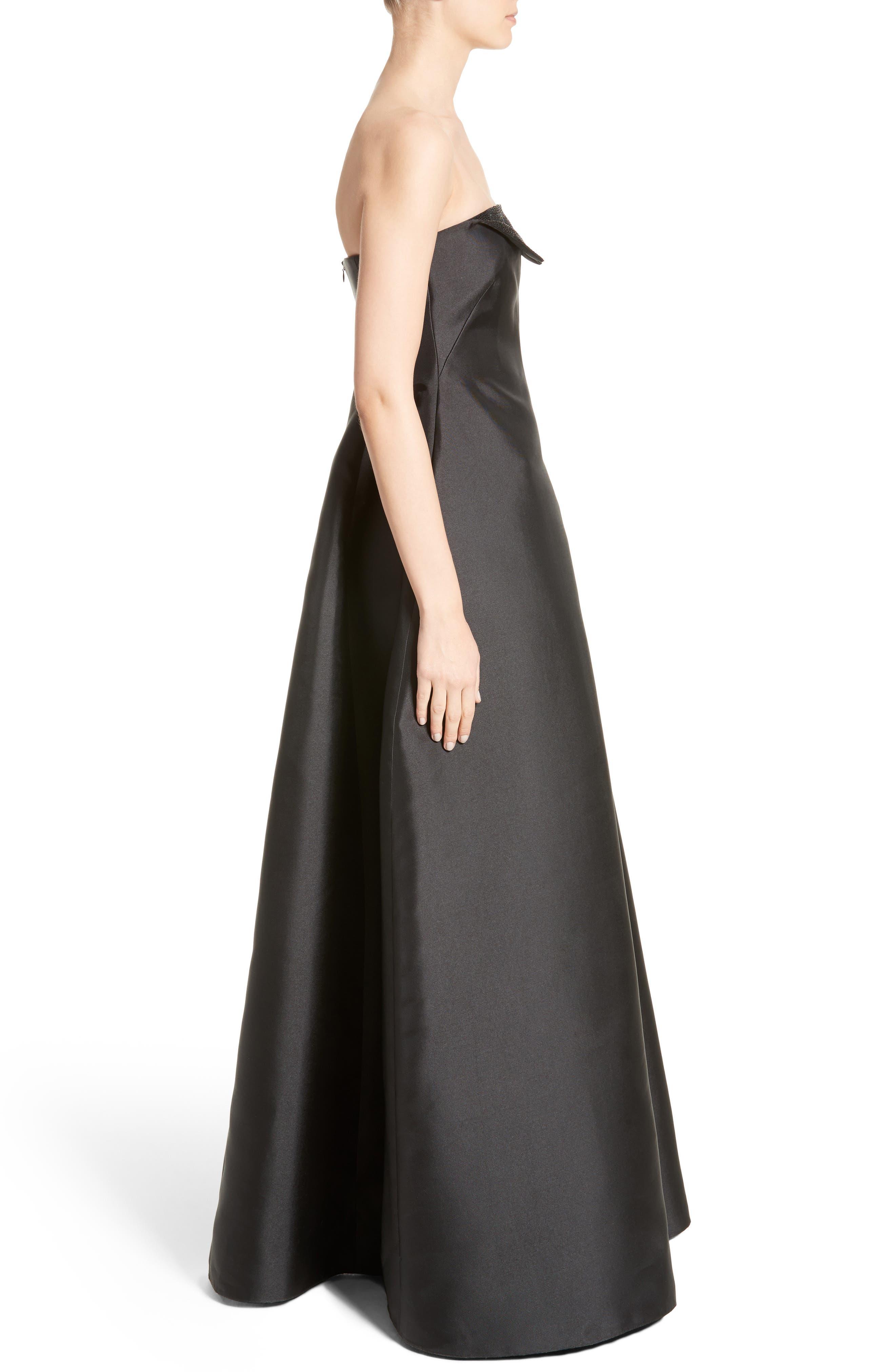 Crystal Embellished Gazar Strapless Gown,                             Alternate thumbnail 3, color,                             004