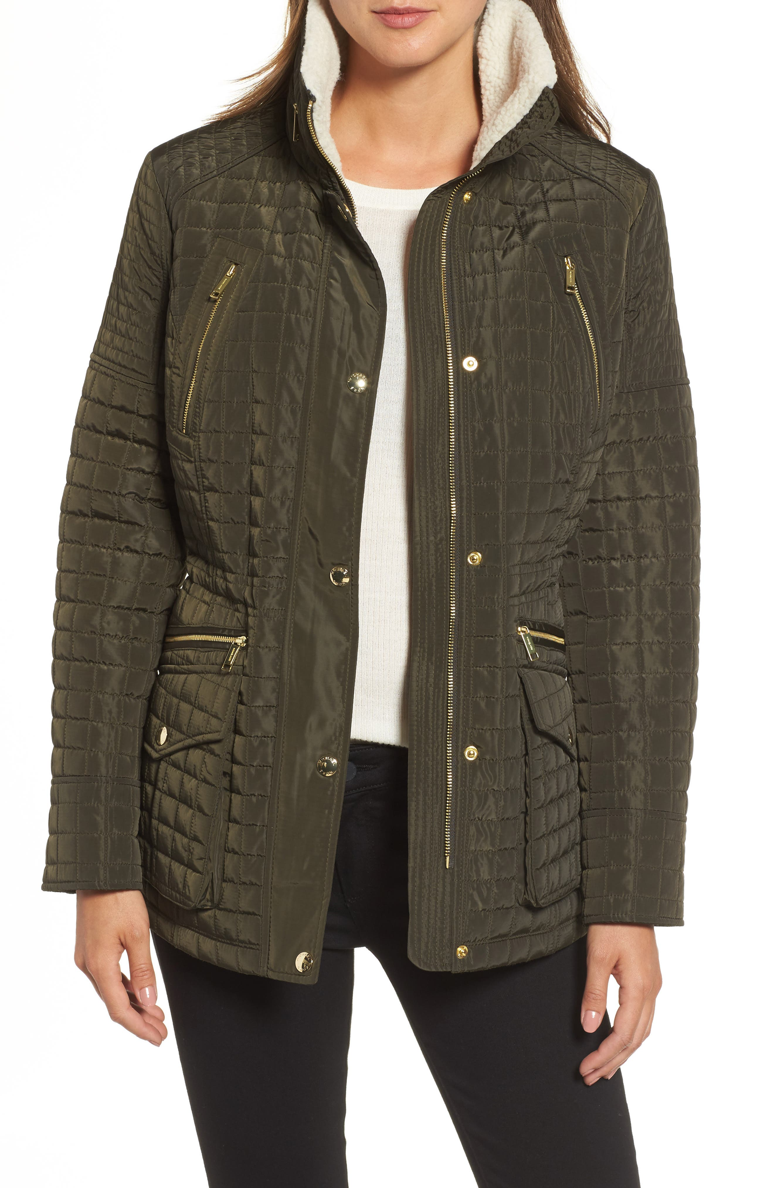 Water Resistant Quilted Anorak with Faux Shearling Trim,                             Main thumbnail 1, color,                             377