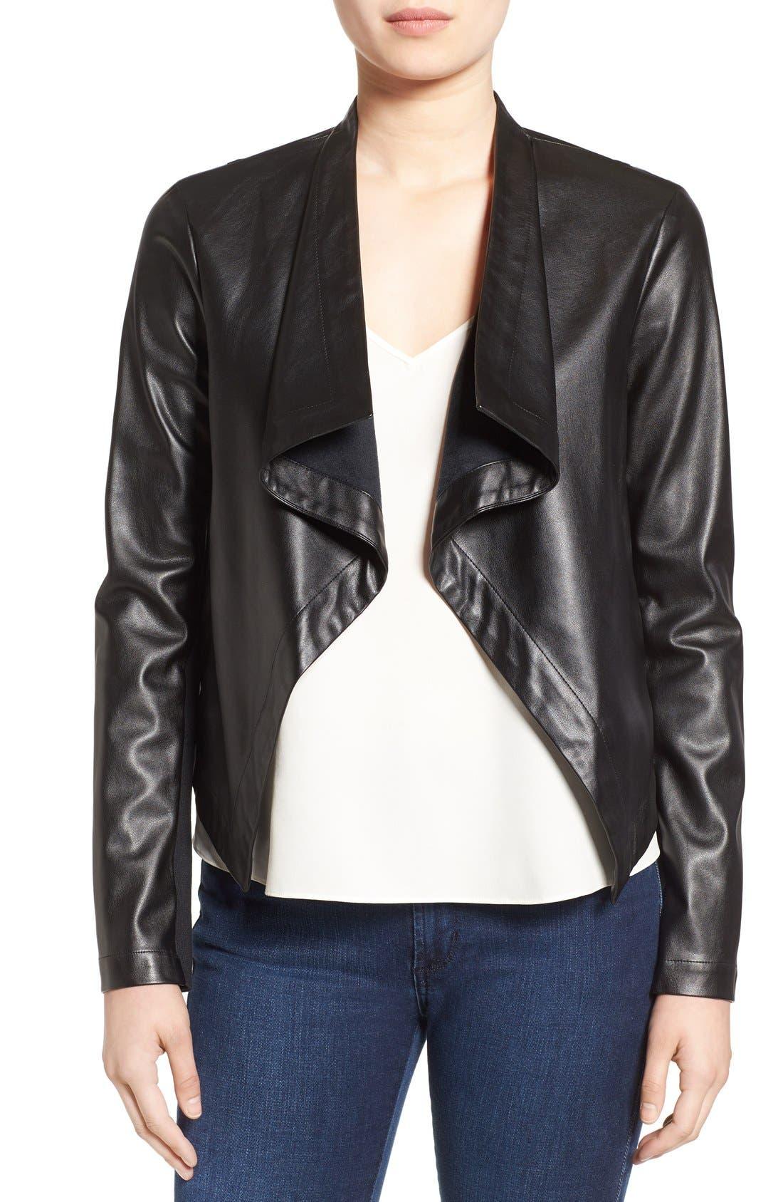 'Peppin' Drape Front Faux Leather Jacket,                             Main thumbnail 2, color,