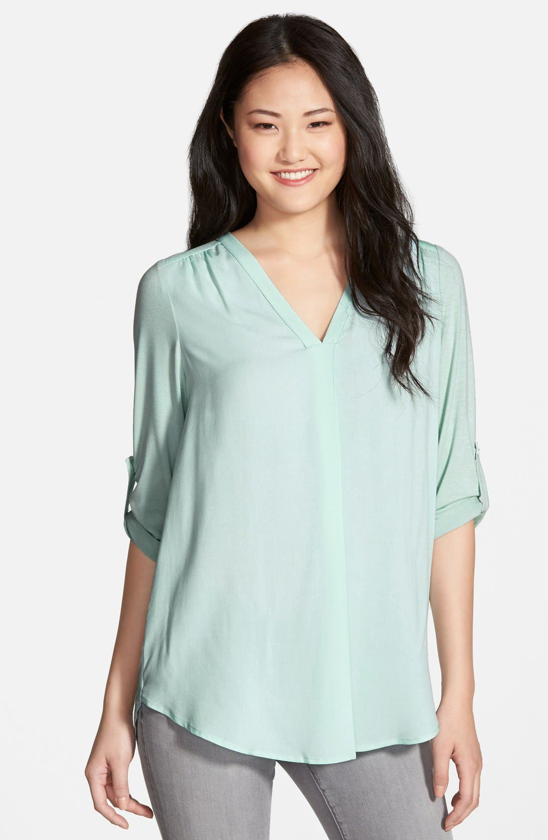 Mixed Media V-Neck Tunic,                             Main thumbnail 11, color,